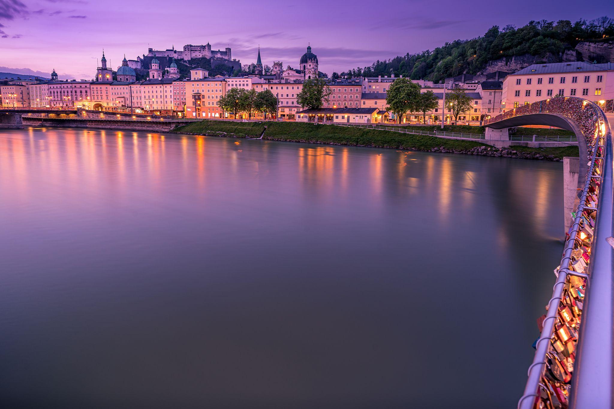 Markatsteg with the City of Salzburg, Austria