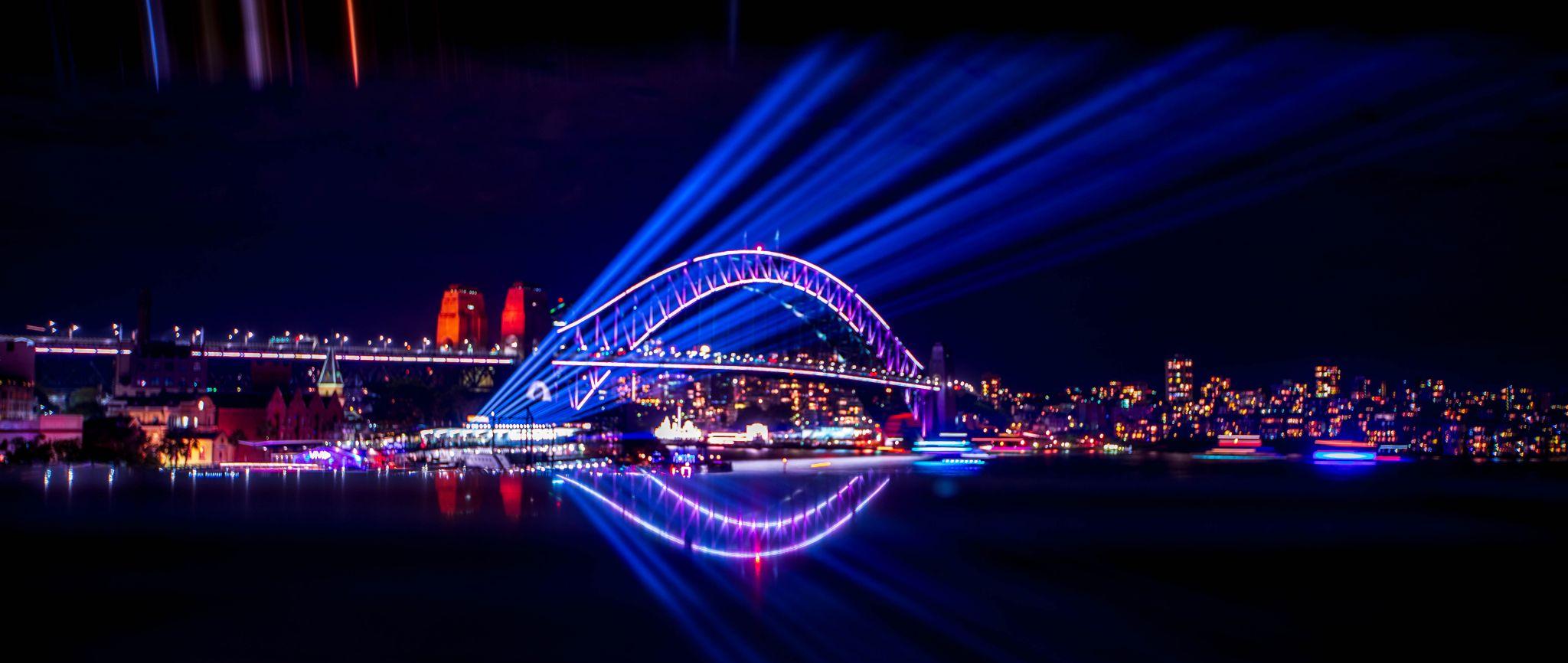 Sydney Harbour Bridge reflections Vivid Festival, Australia