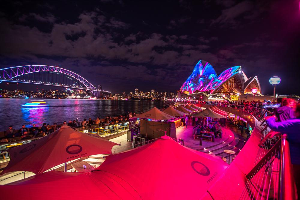 Sydney Opera House & Harbour Bridge during Vivid Festival, Australia