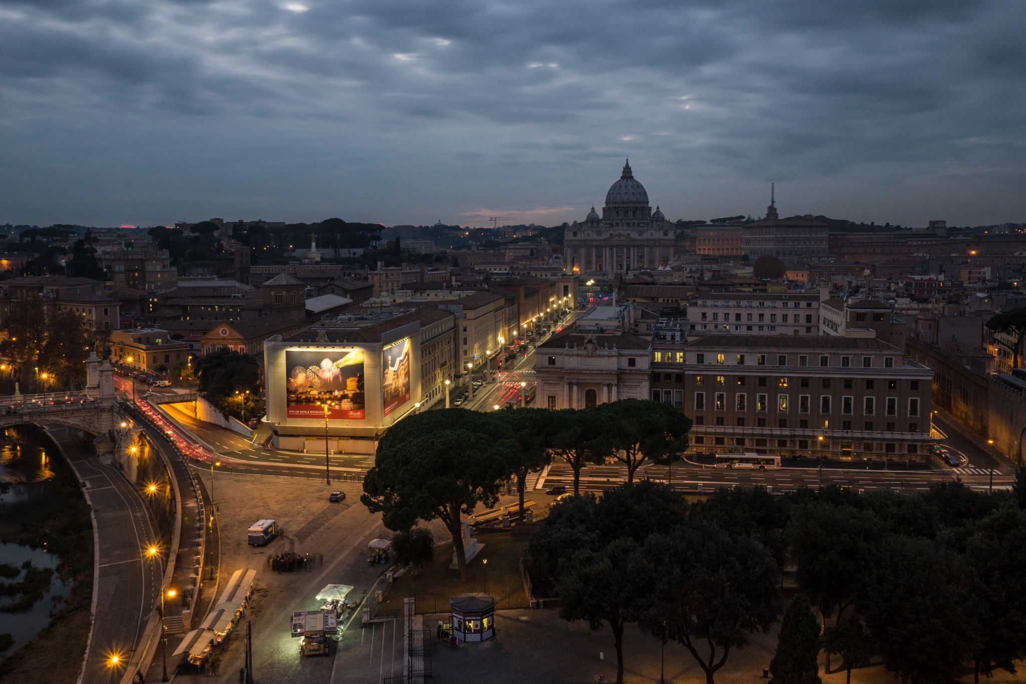 View from Castel Sant-Angelo to Basilica di San Pietro, Italy