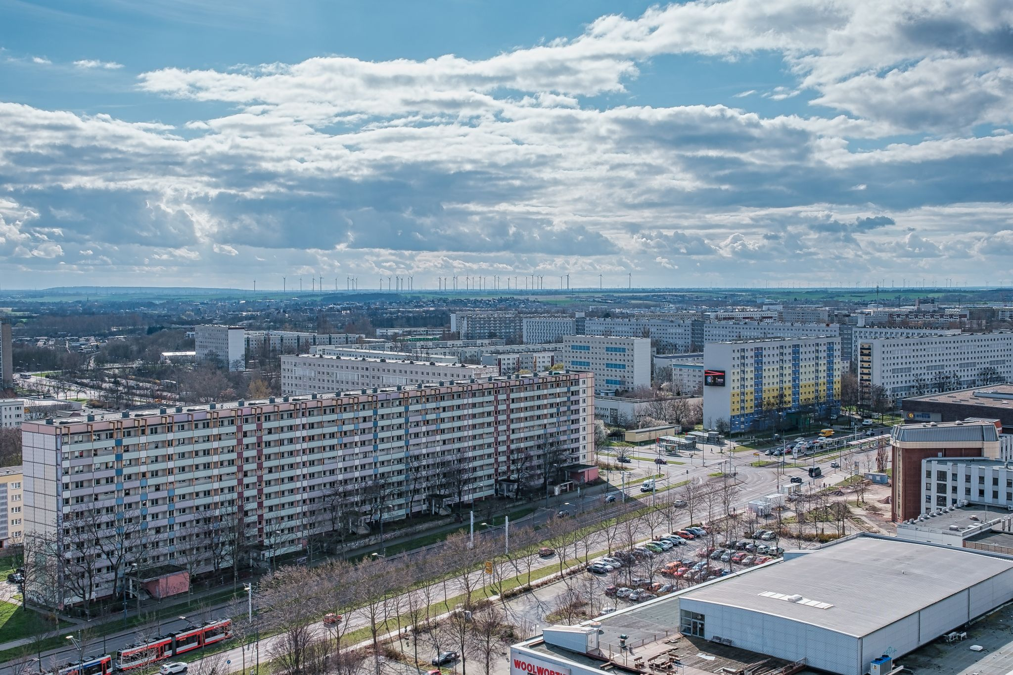 View over Halle-Neustadt from Scheibe D, Germany