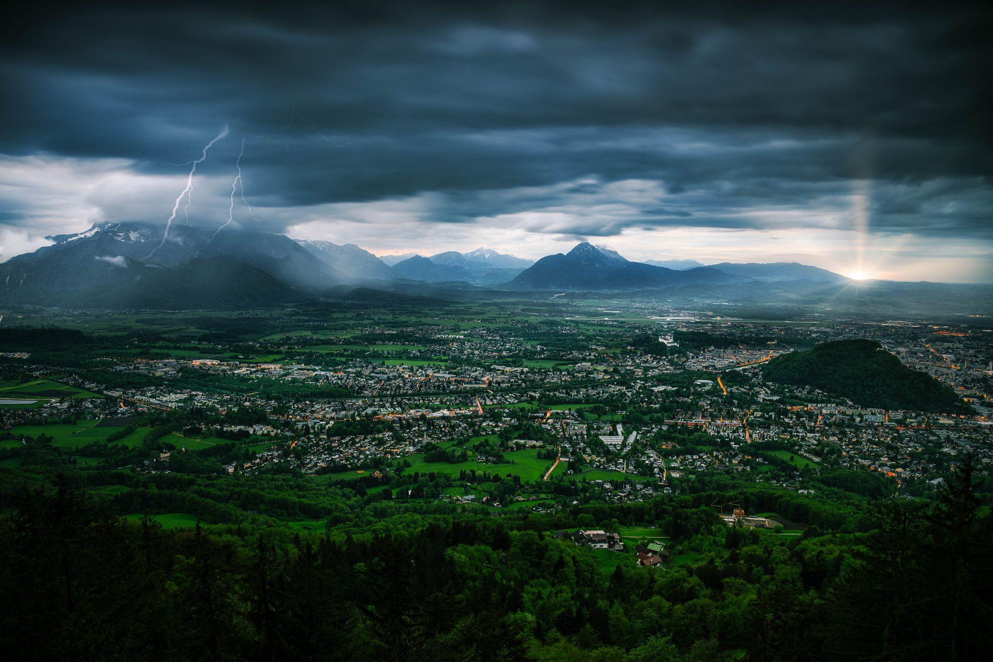 View over Salzburg from Gaisberg, Austria