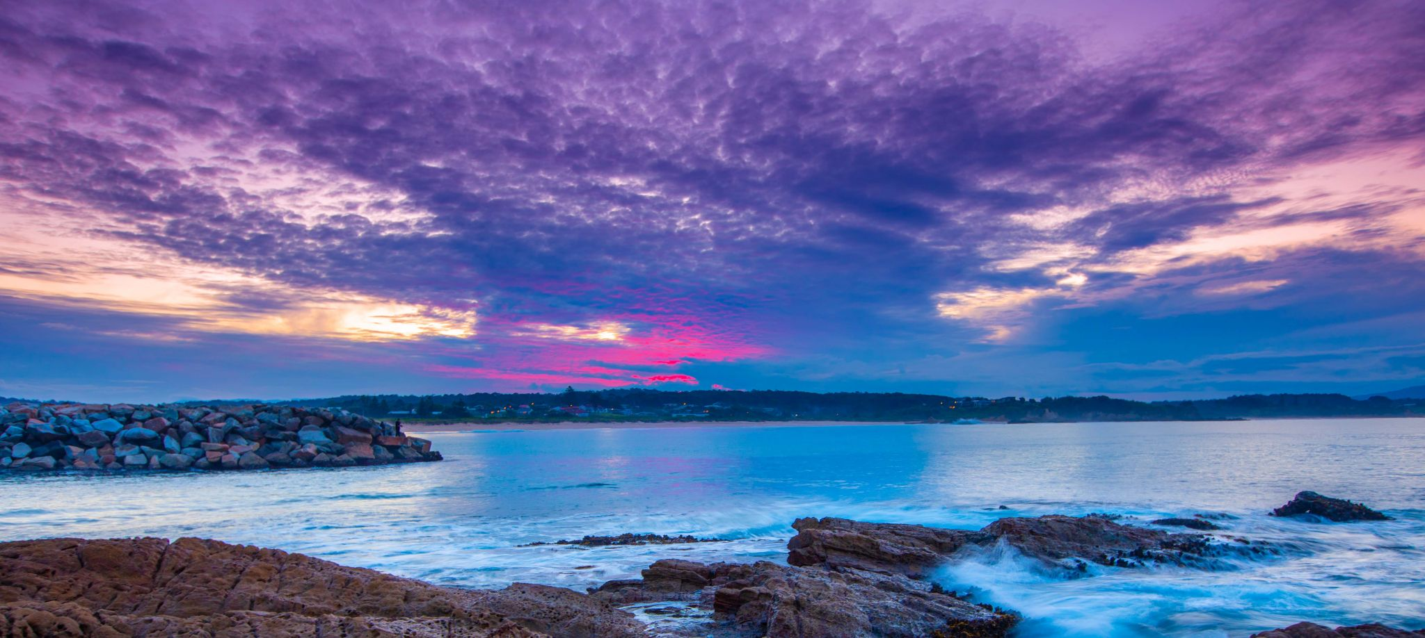 Bermagui Breakwater, New South Wales sunset, Australia