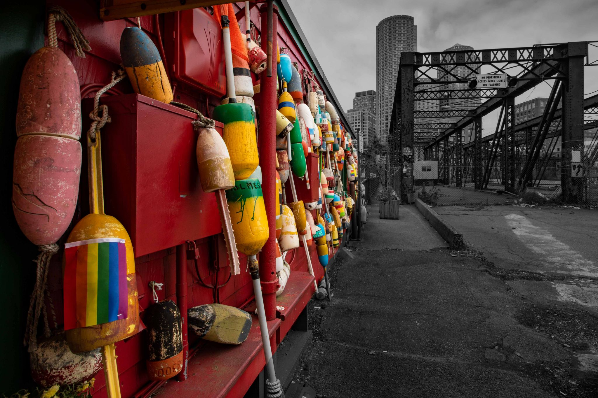 Bouys at Old Northern Ave Bridge Boston, USA