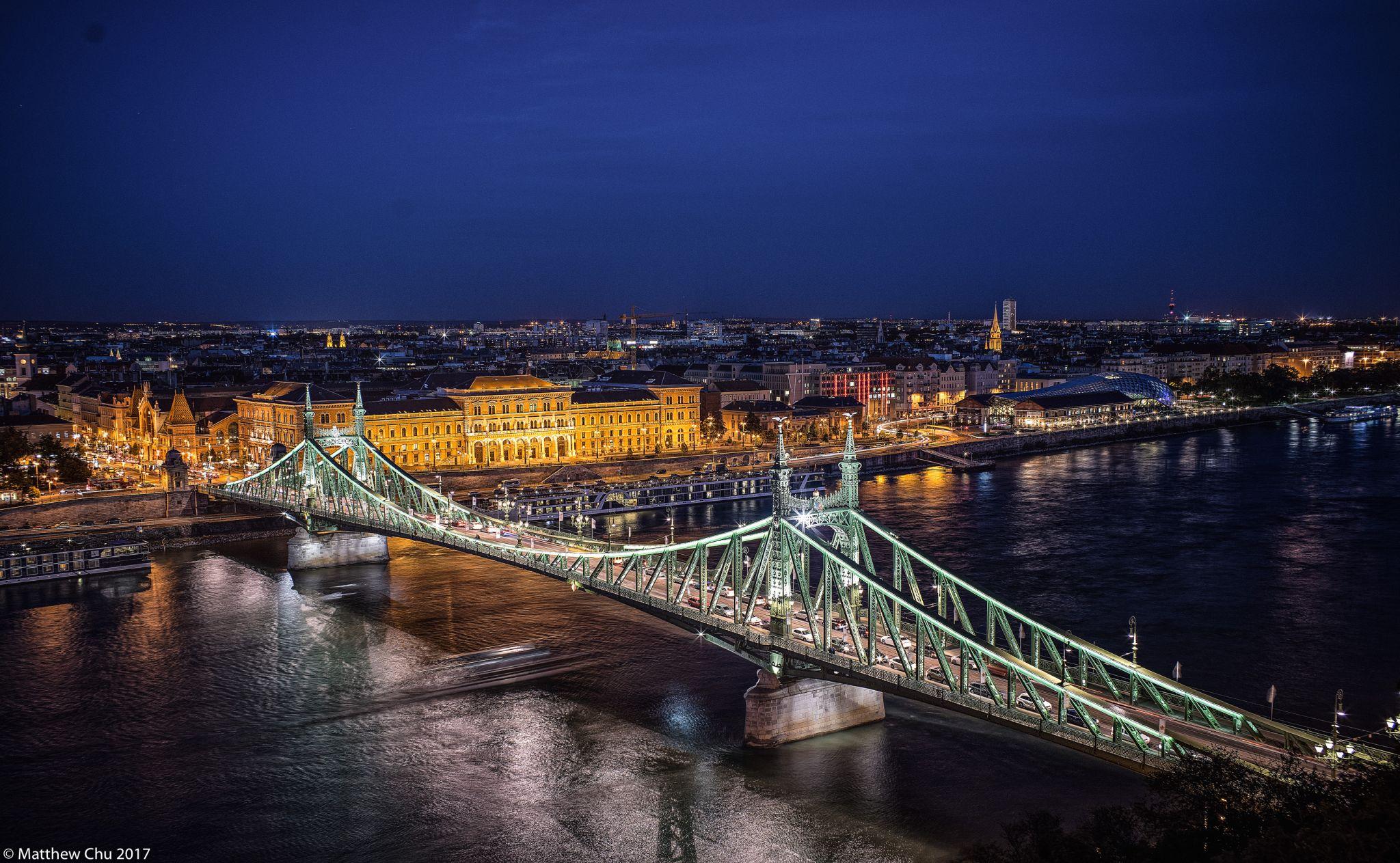 Liberty Bridge at Blue Hours, Budapest, Hungary