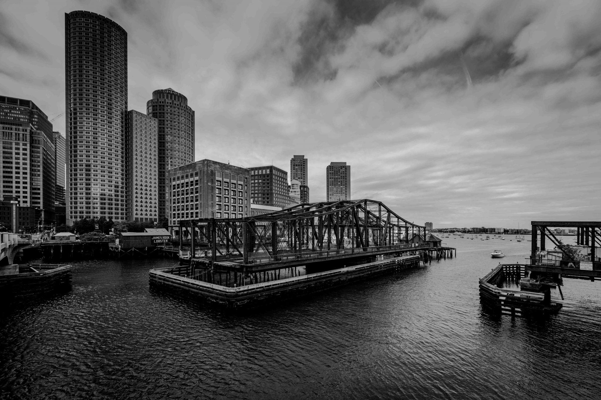 Old Northern Ave Bridge & skyline Boston, USA