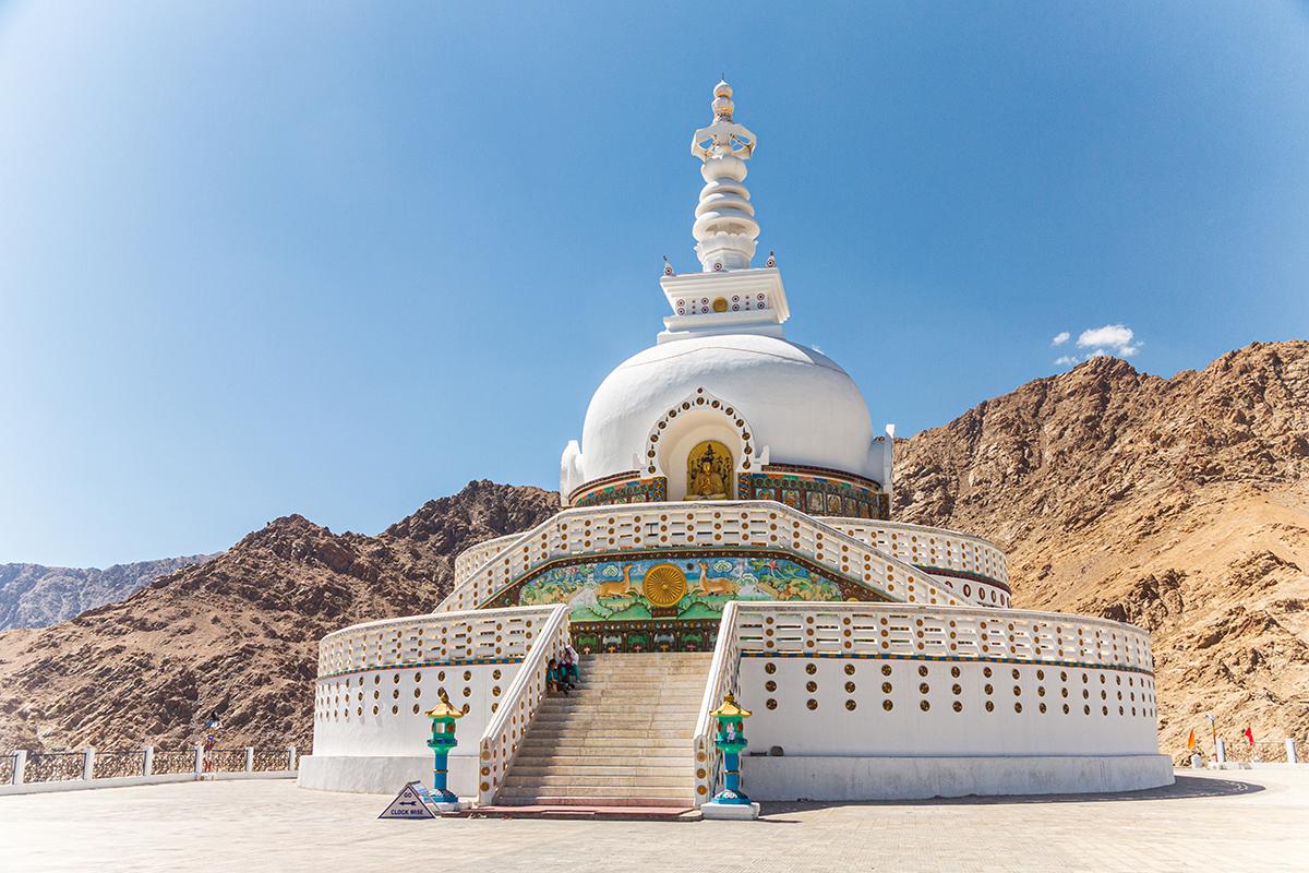 Shanti Stupa in der Nähe von Leh, India
