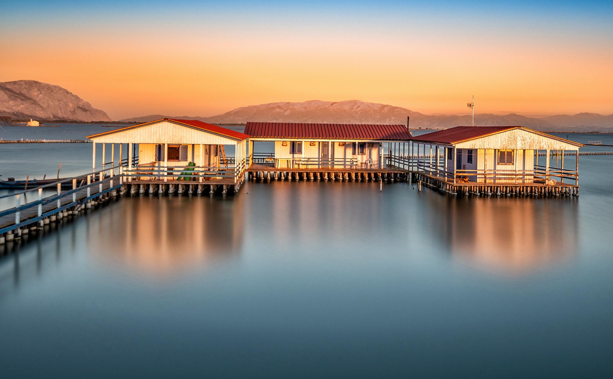 Stilt fishing houses in Messolonghi, Greece
