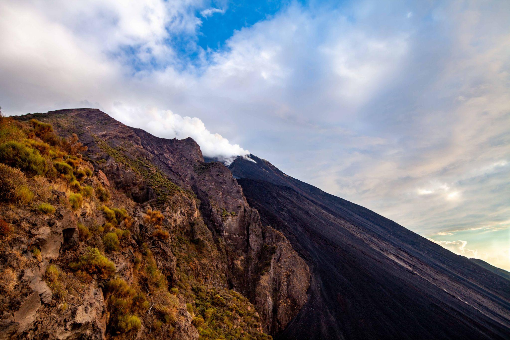 Stromboli Volcano smoking, Aeolian Islands, Italy
