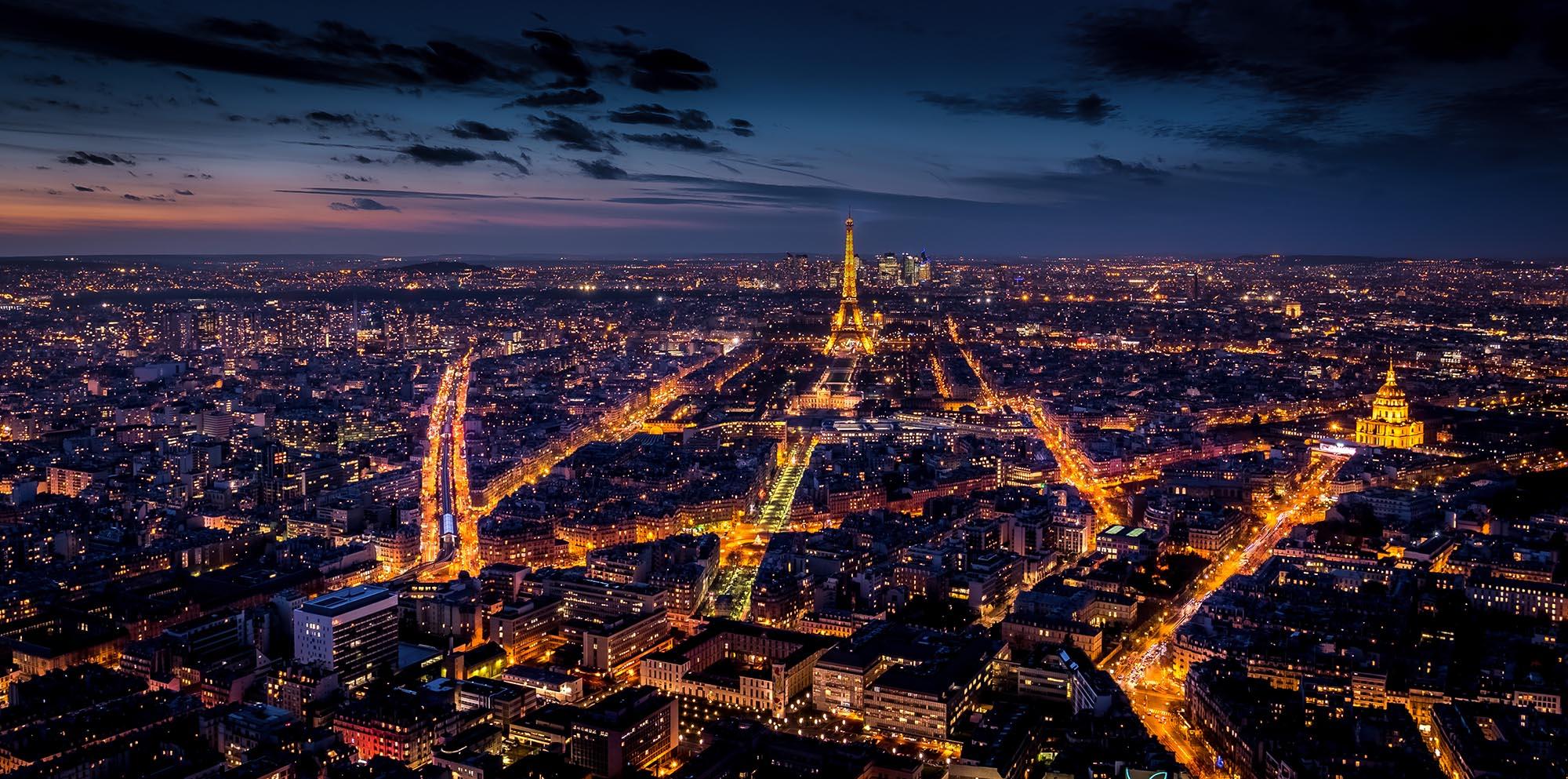 Tour Montparnasse observation deck towards Paris, France