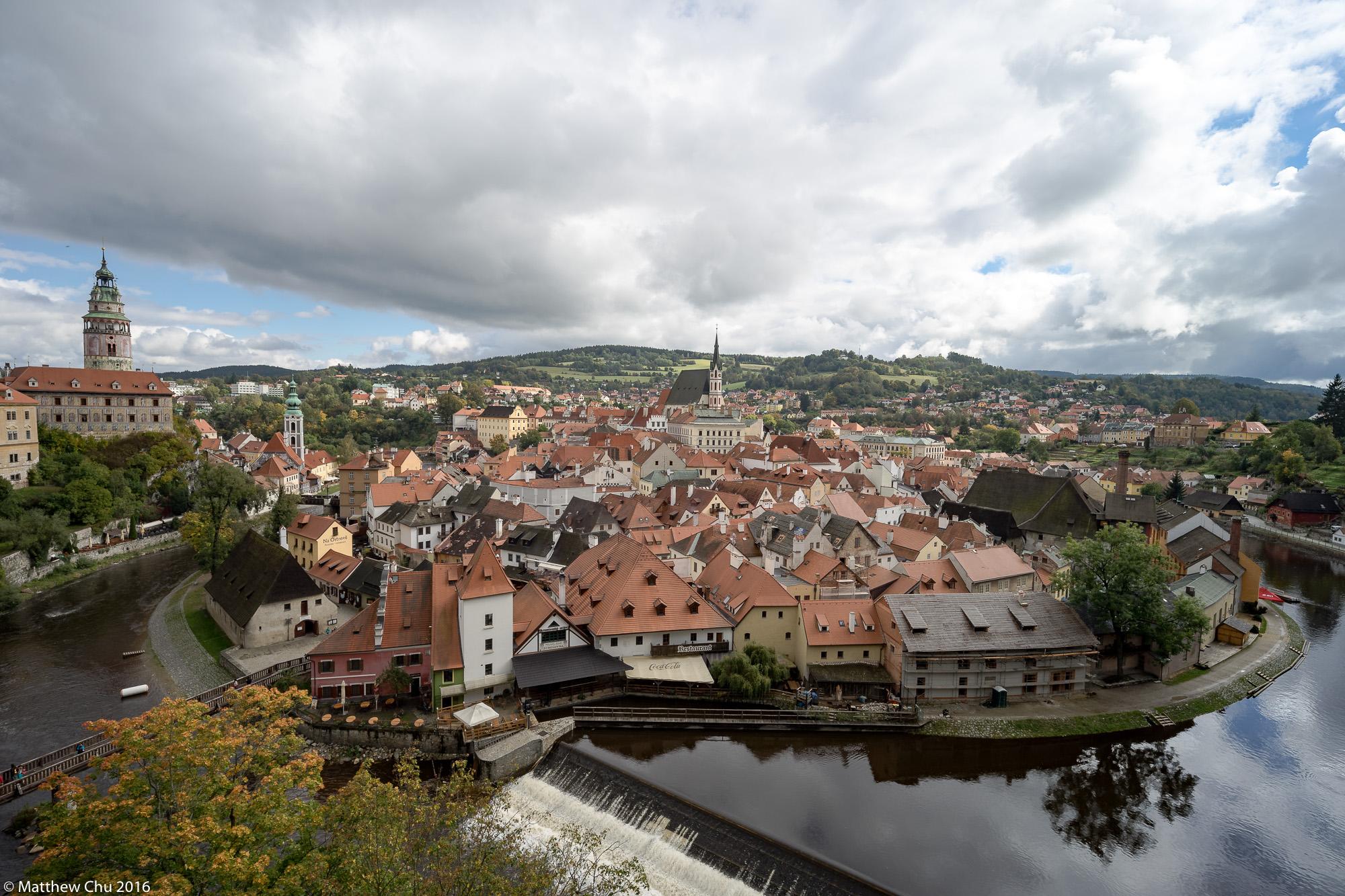 View of Cesky Krumlov from Plastovy Most, Cesky Krumlov, Czech Republic