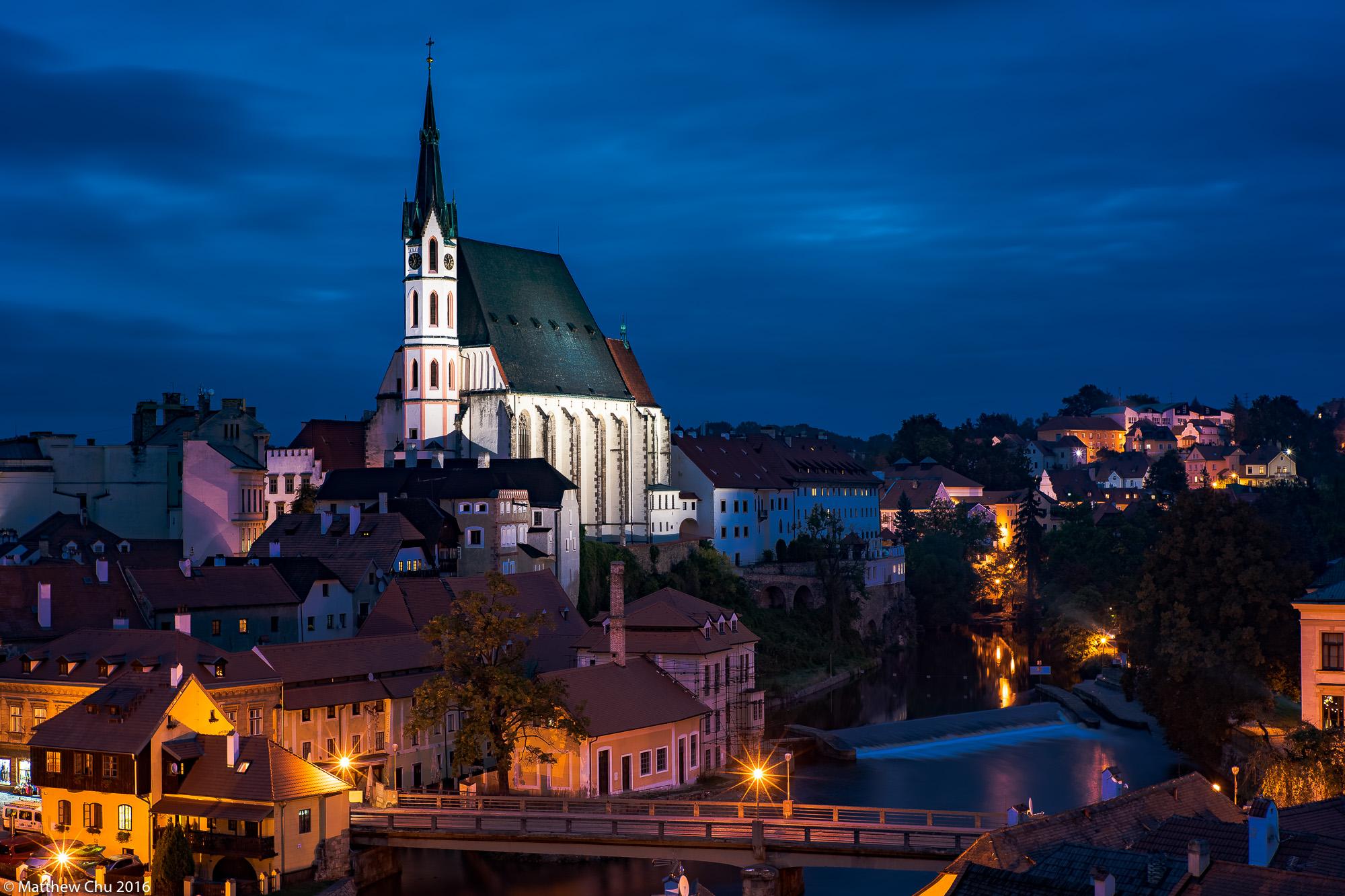 View of Church of St. Vitus, Cesky Krumlov, Czech Republic