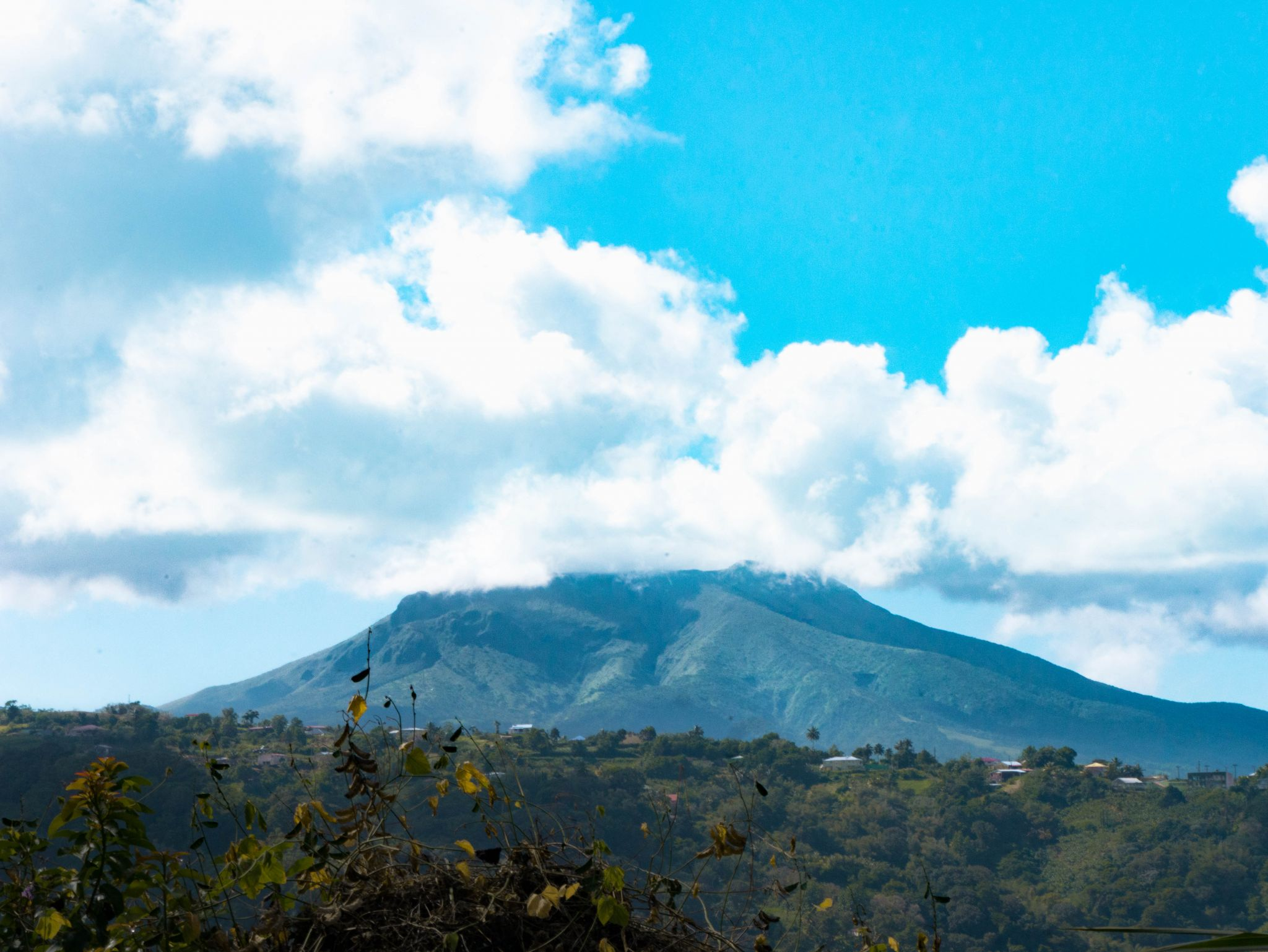 View of the Montagne Pelée from Marigot, Martinique