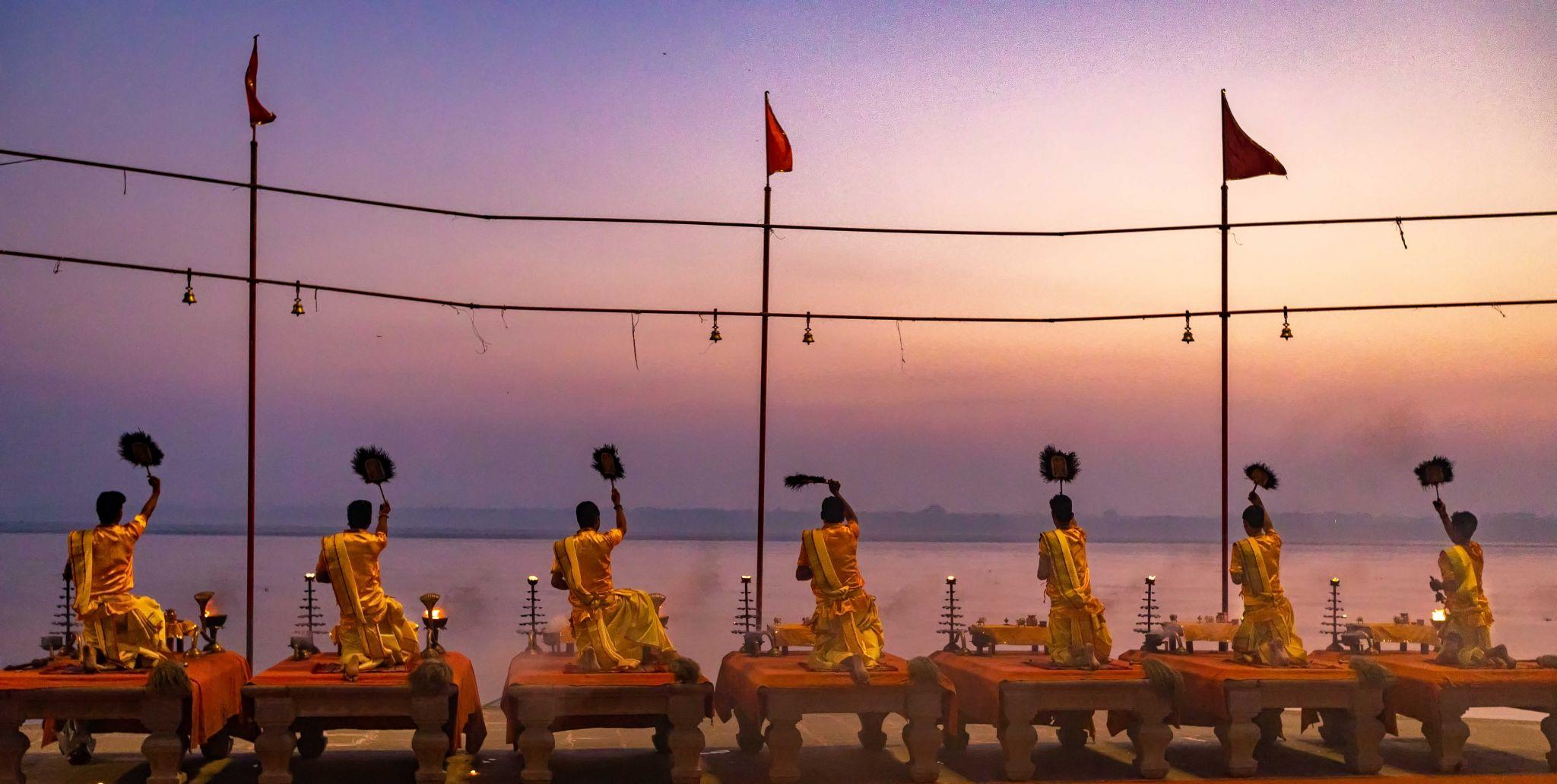 Aarti Hindu Religious Ritual ,The Ganges, Varanasi, India