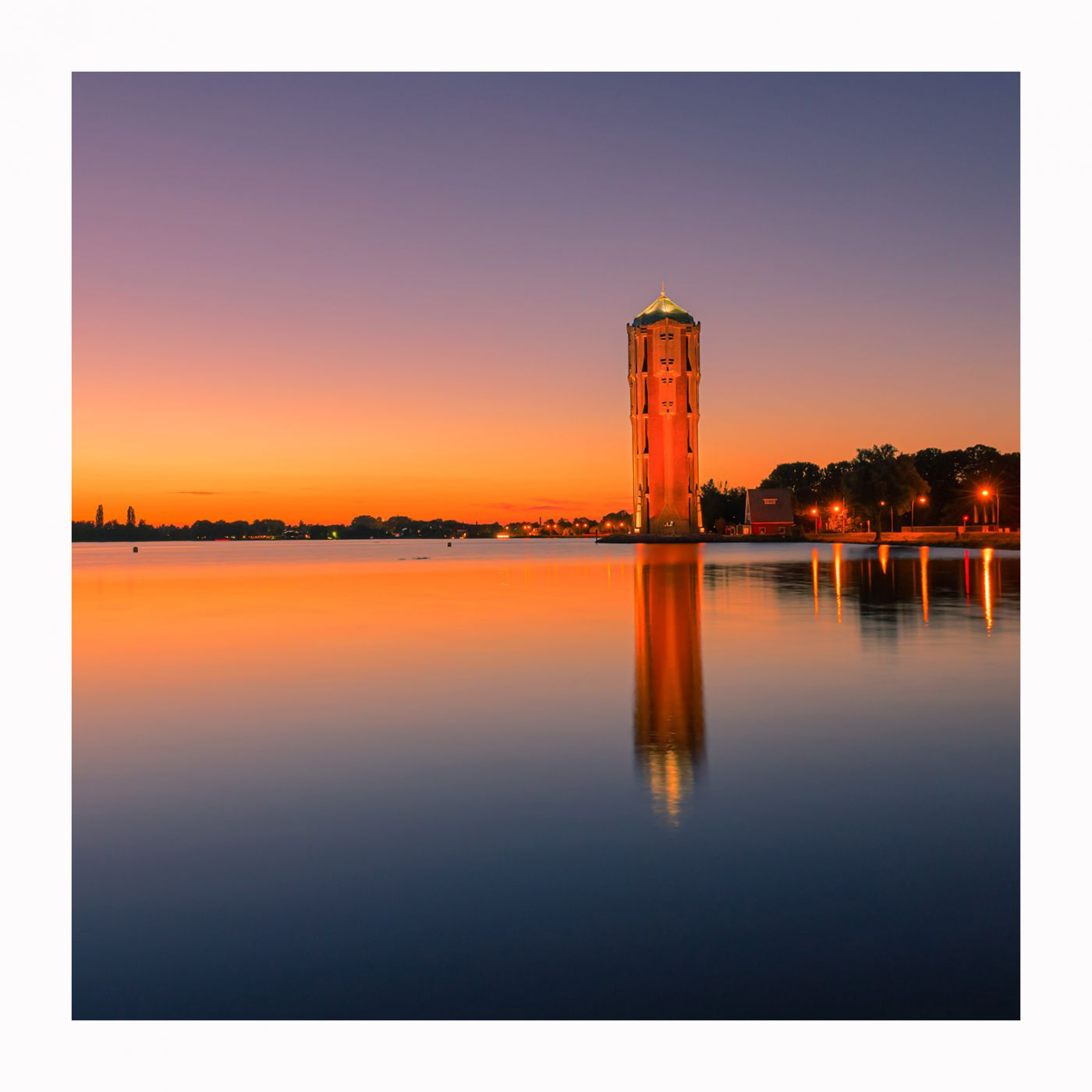 Alsmeer Watertower after sunset, Netherlands