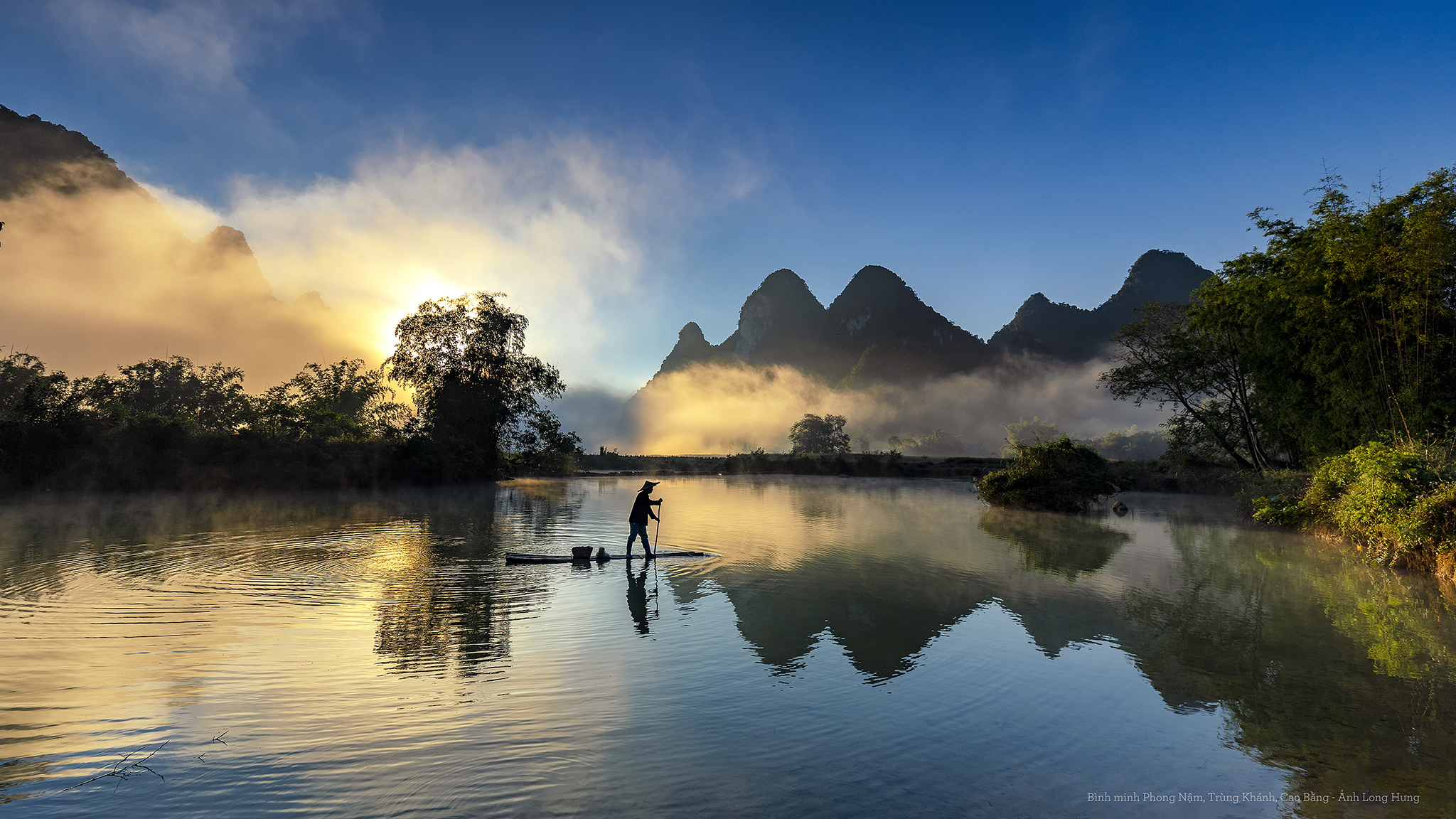 Beautiful Cao Bang landscape vew from Phong Nam, Vietnam