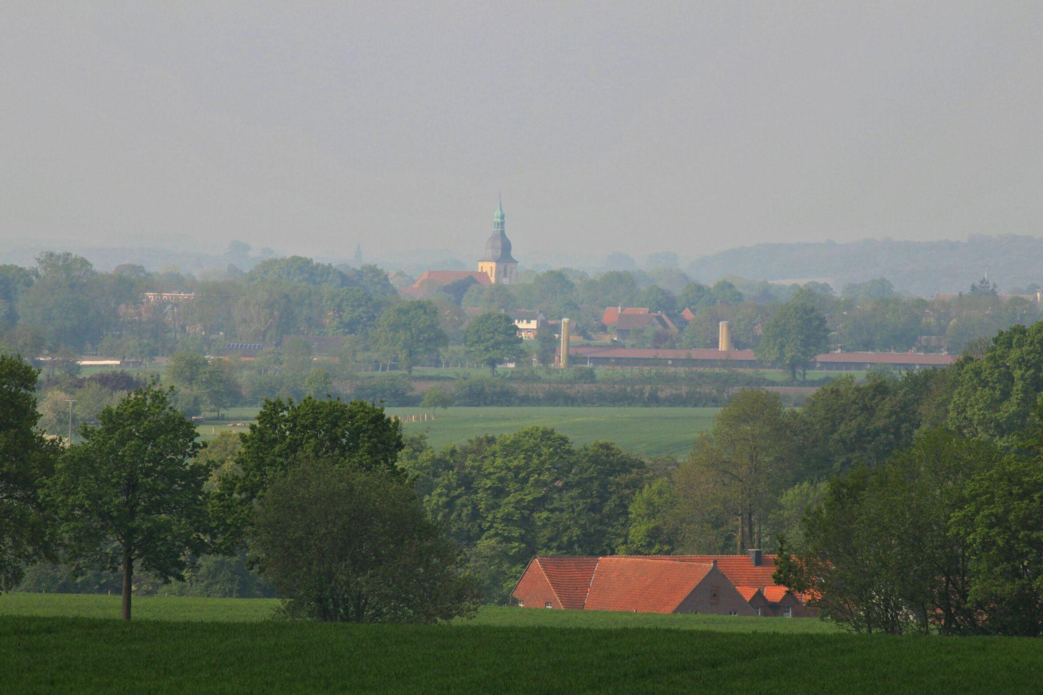 Blick von den Baumbergen auf Nottuln, Germany
