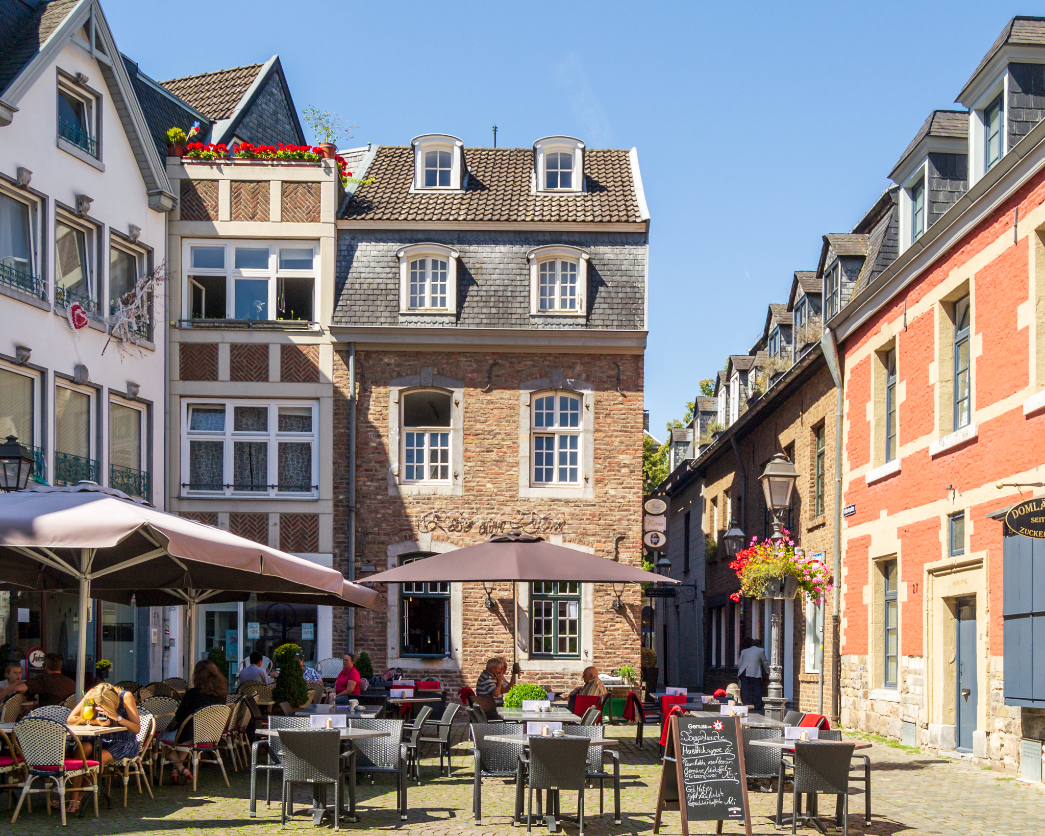 Coffee shops by the Aachen Dom, Germany