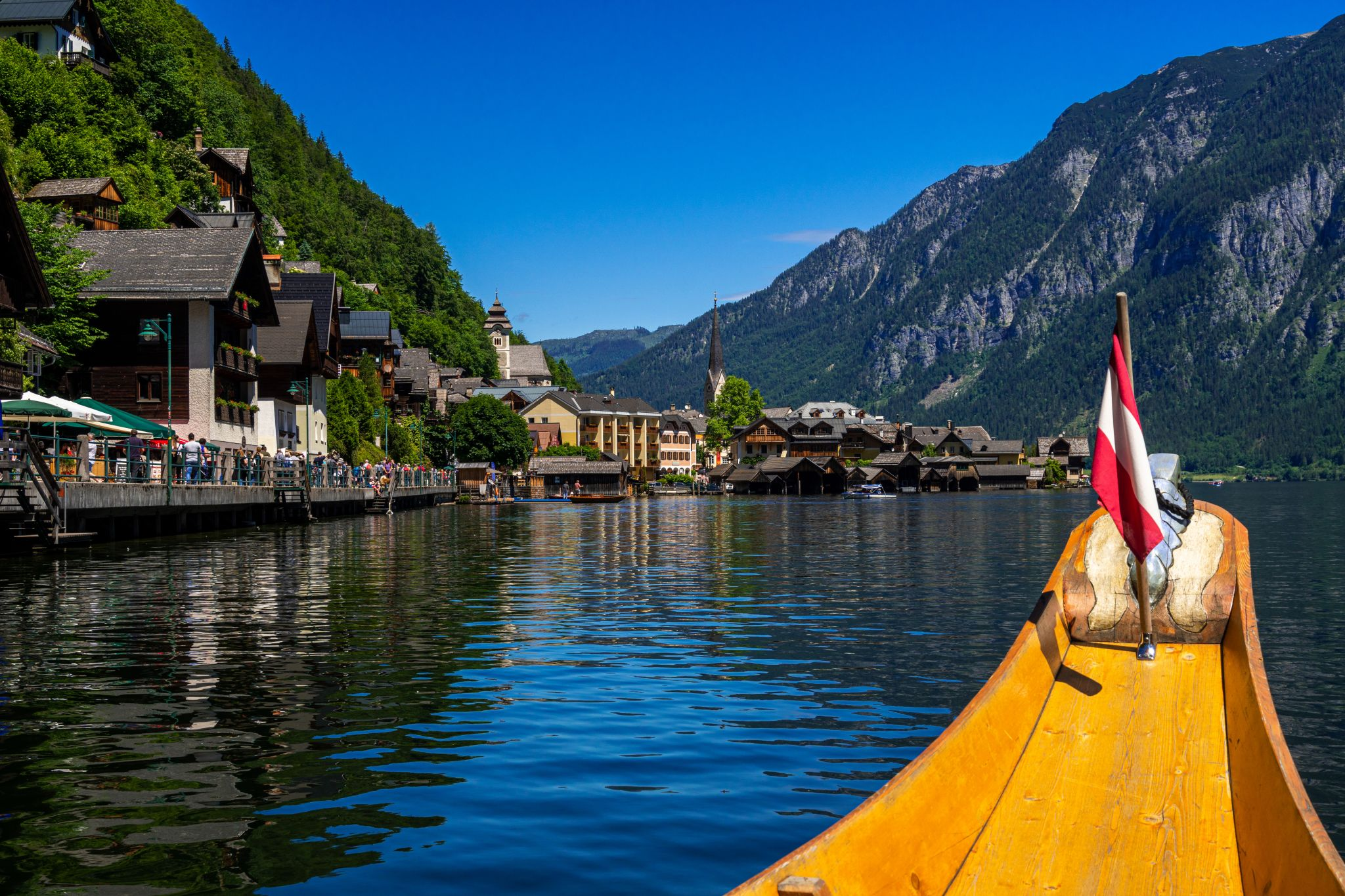 Hallstatt, view from the lake, Austria