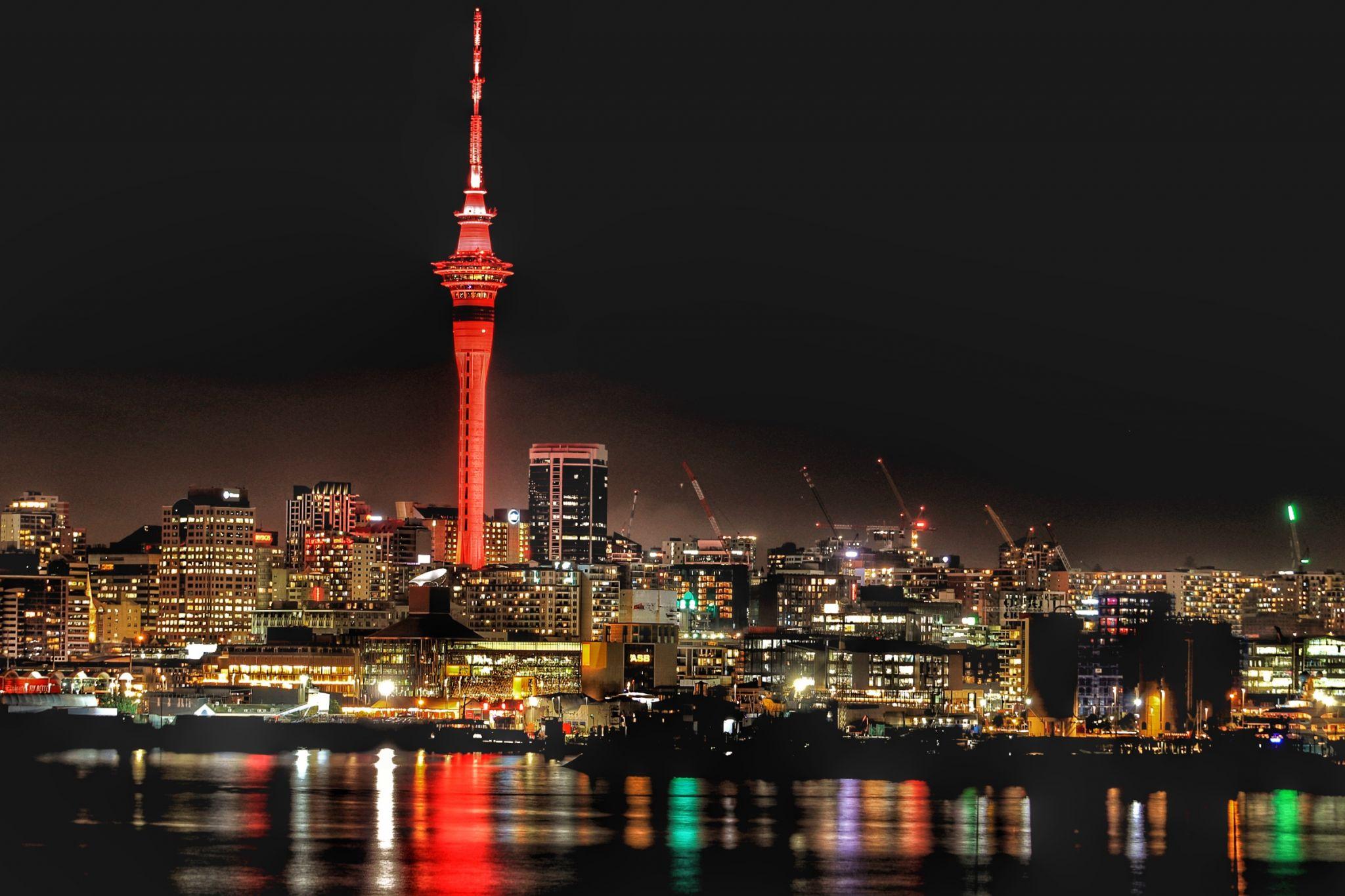 Auckland's Sky Tower & CBD at night, New Zealand