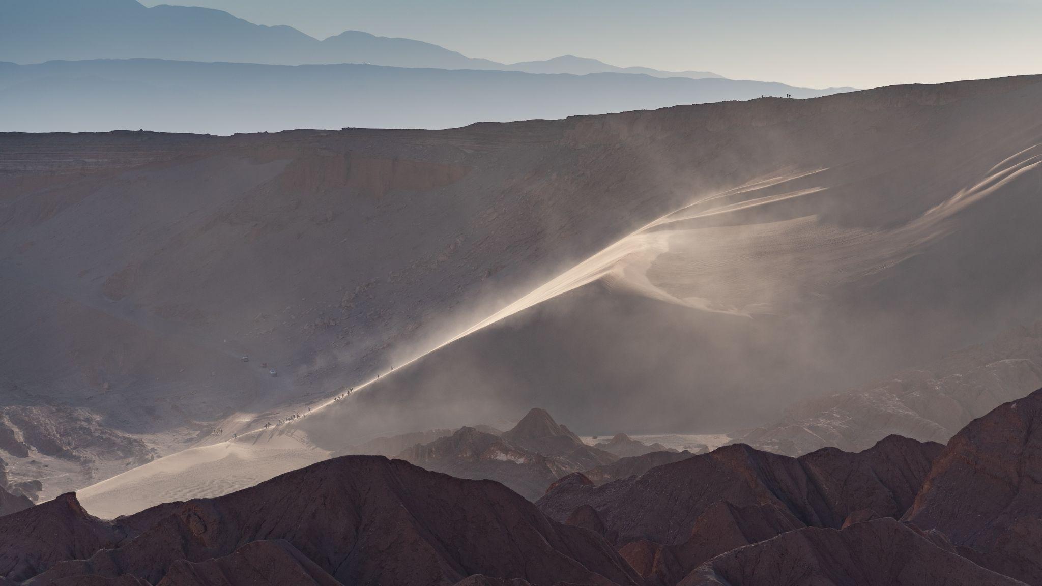 Sand dunes in the area of Valle de Muerte, Chile