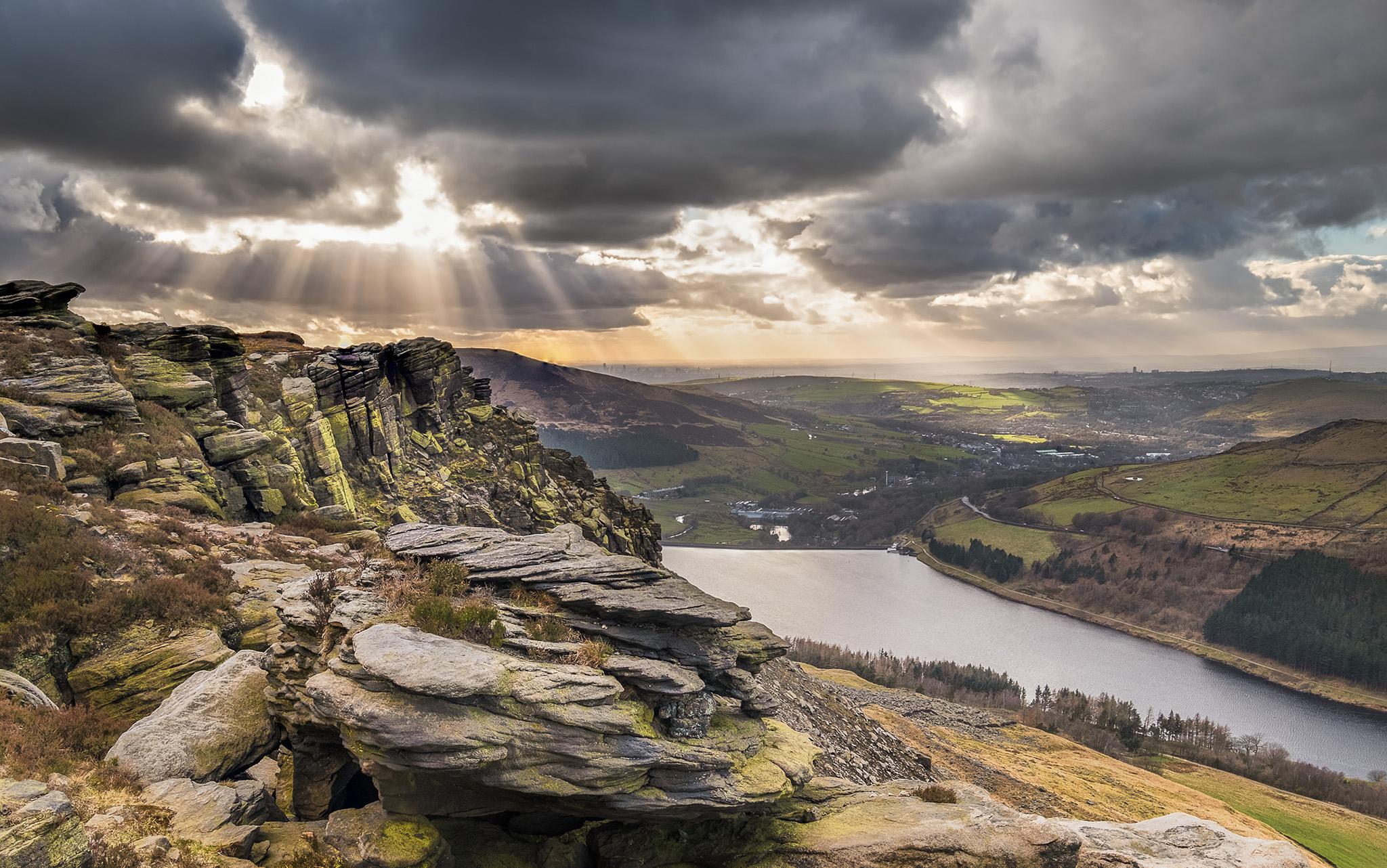 Sunset at Dean Rocks in the Peak District, United Kingdom
