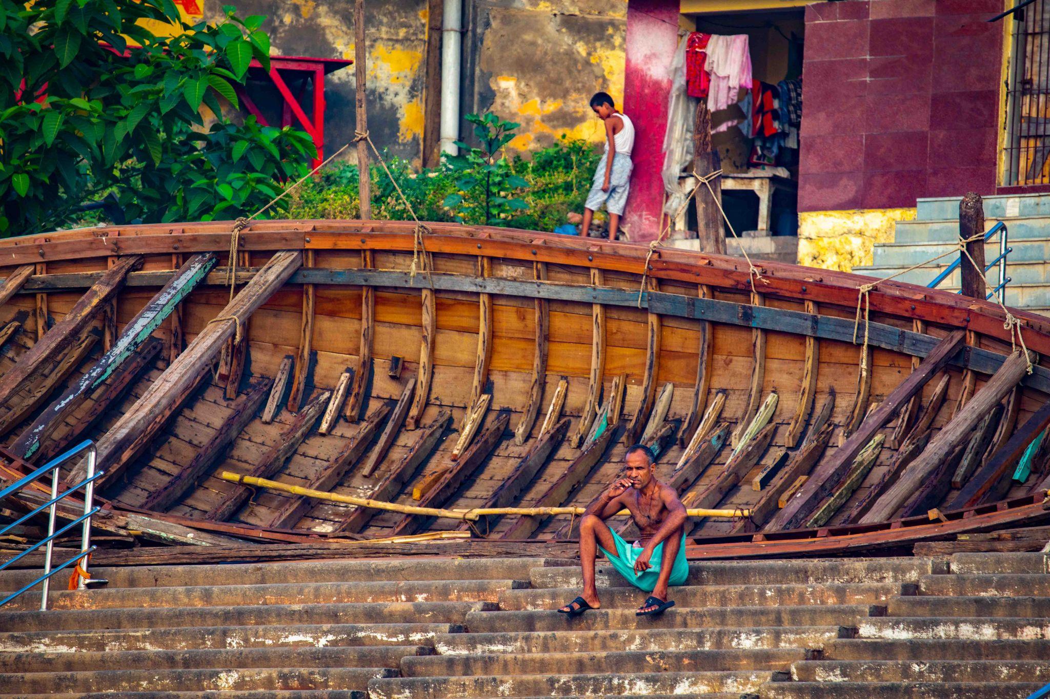 The boat skeleton the Ganges Varanasi, India
