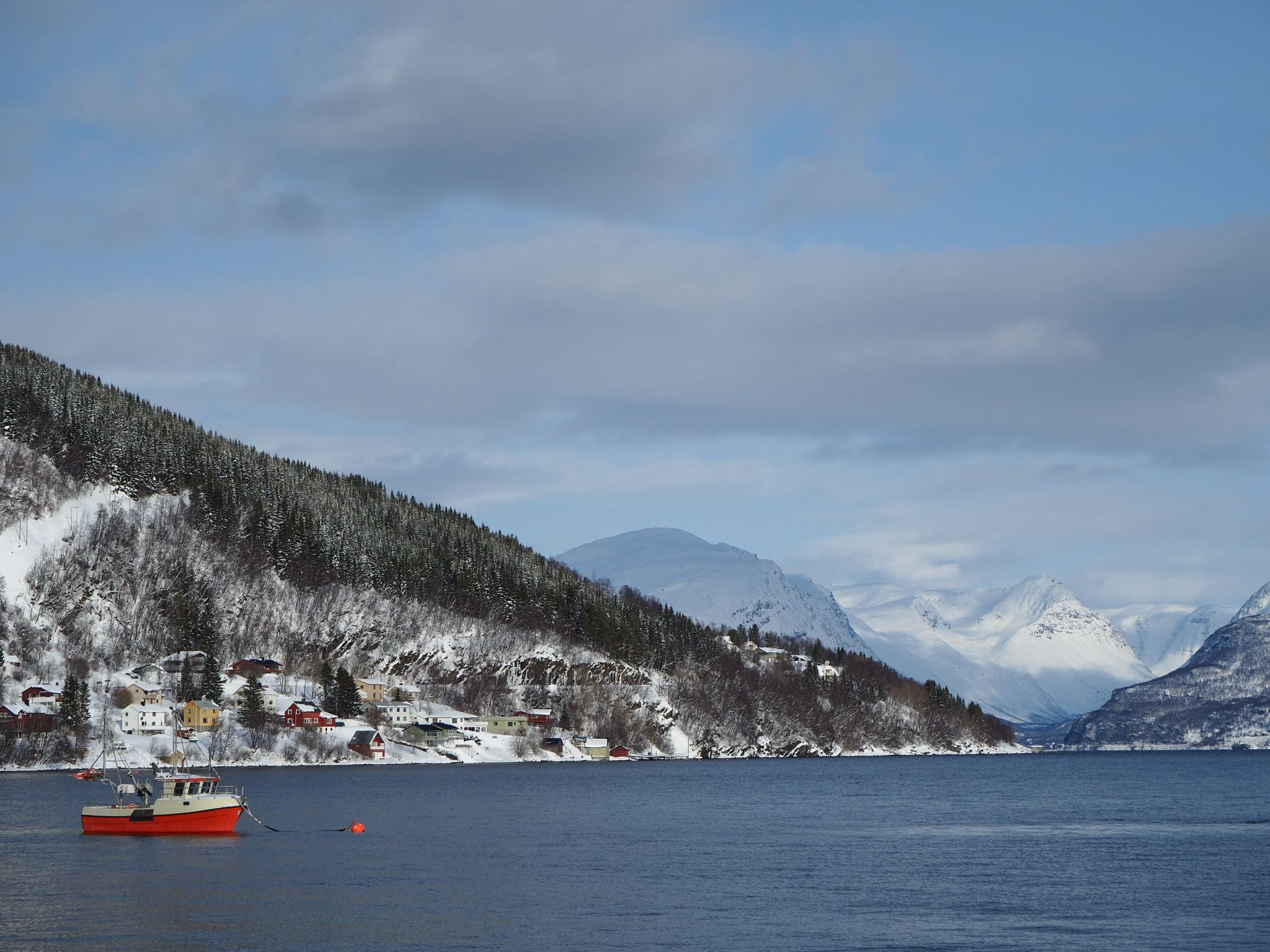 View over winter bay, Norway