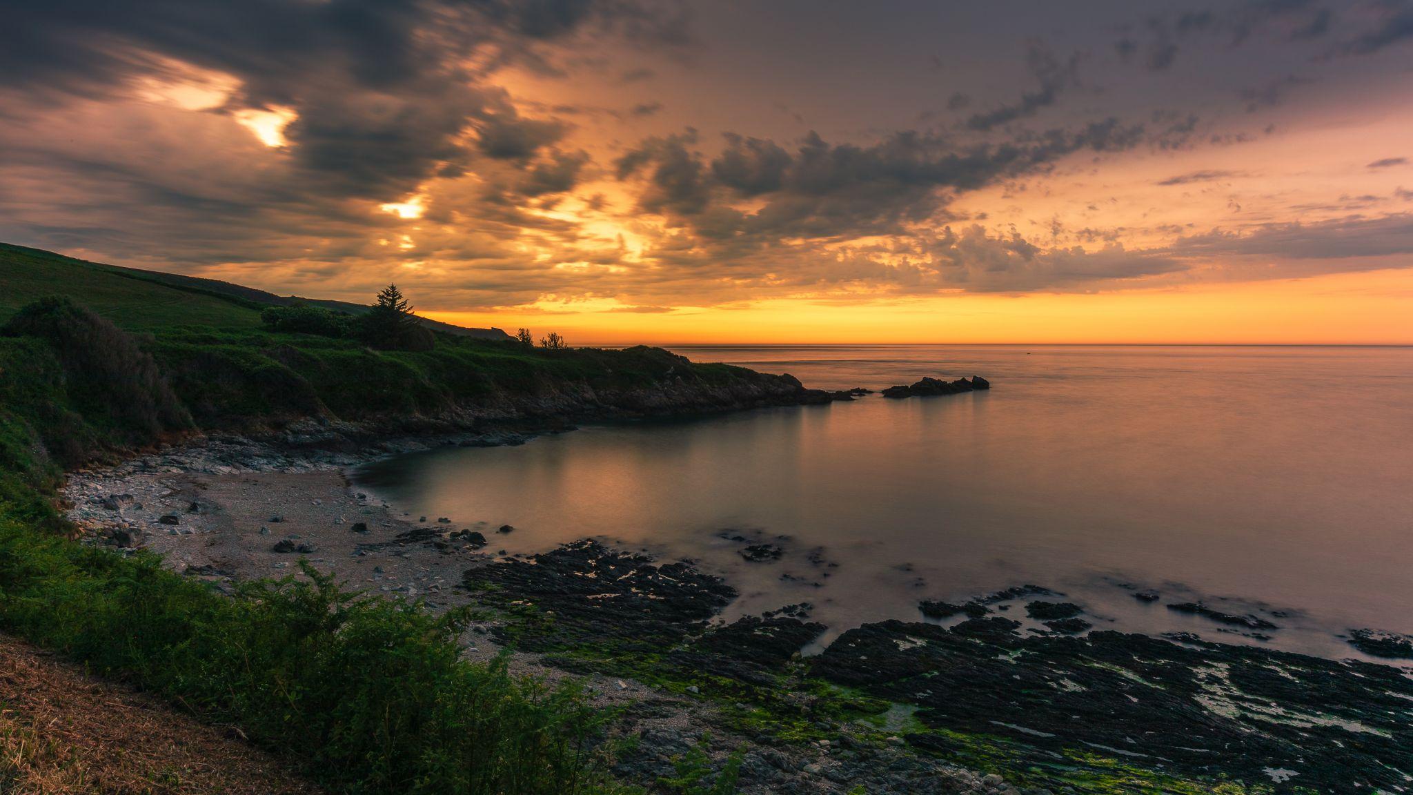 Baie de Quervière, sunset, France