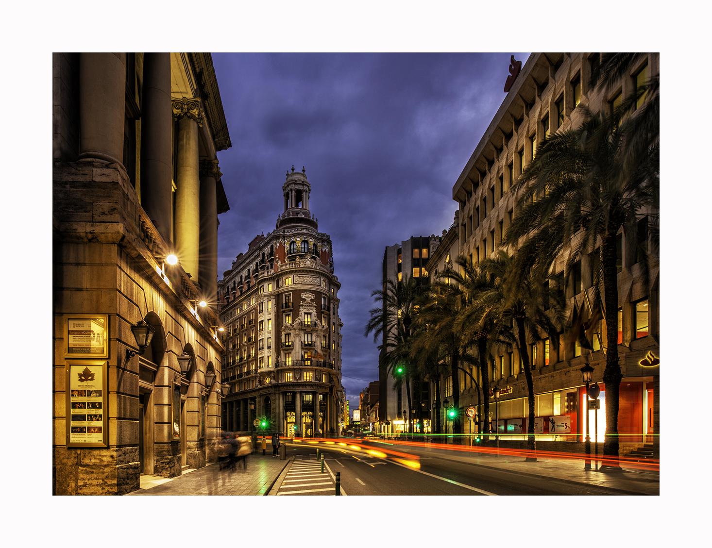 Banco de Valencia during blue hour, Spain