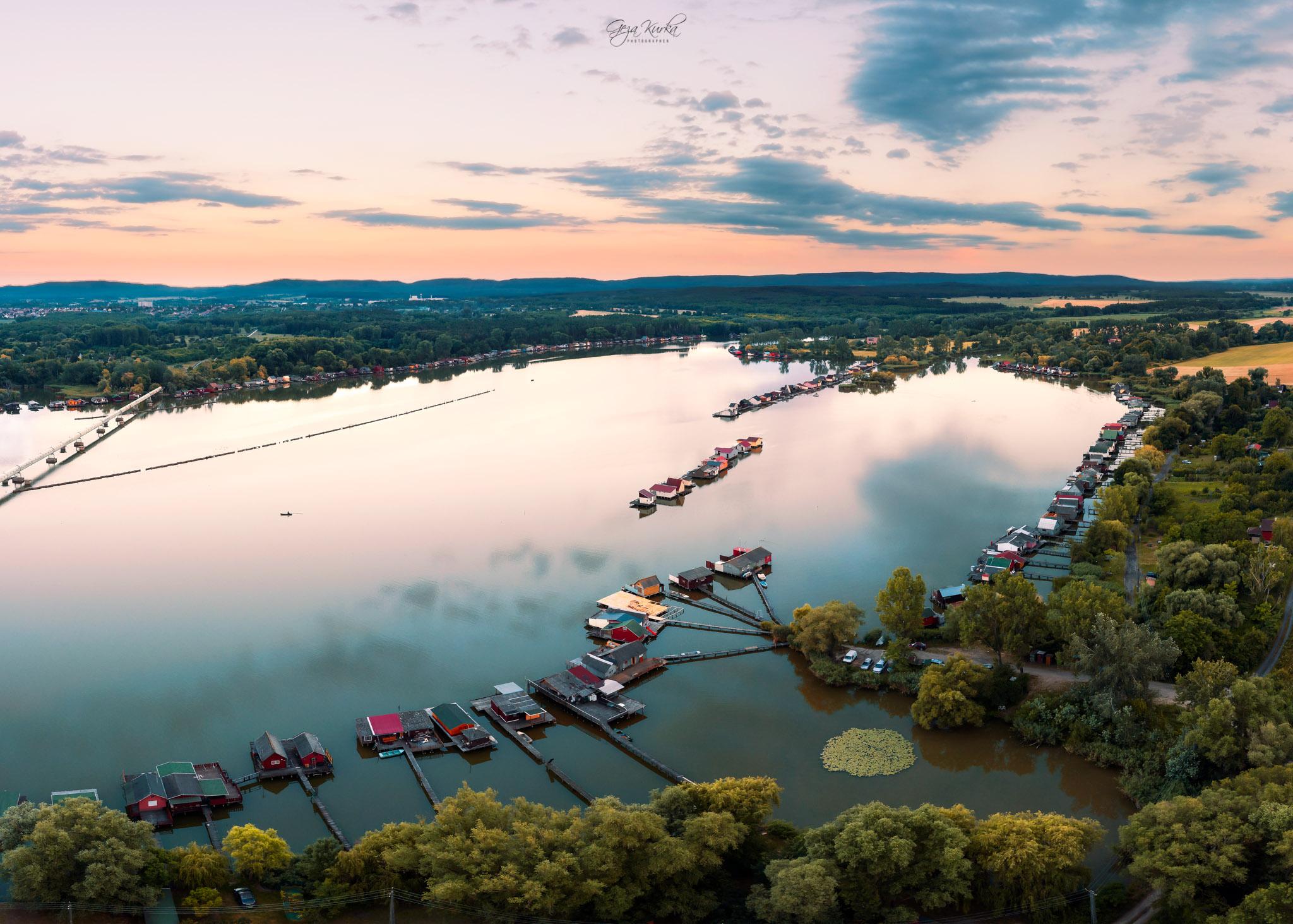 lake Bokod aerial landscape, Hungary