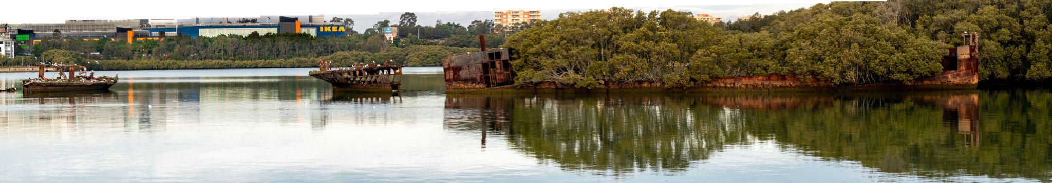 Shipwreck graveyard Homebush Sydney, Australia