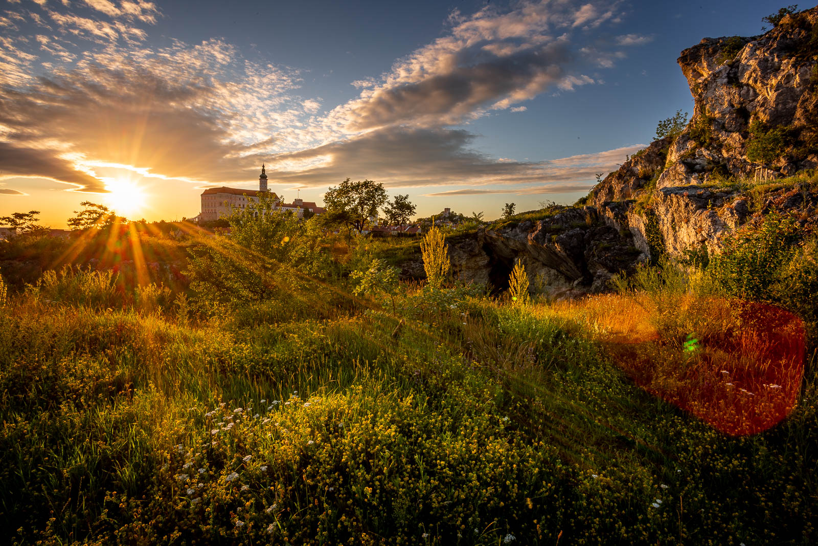 Sunset in the garden with the view of Mikulov castle., Czech Republic