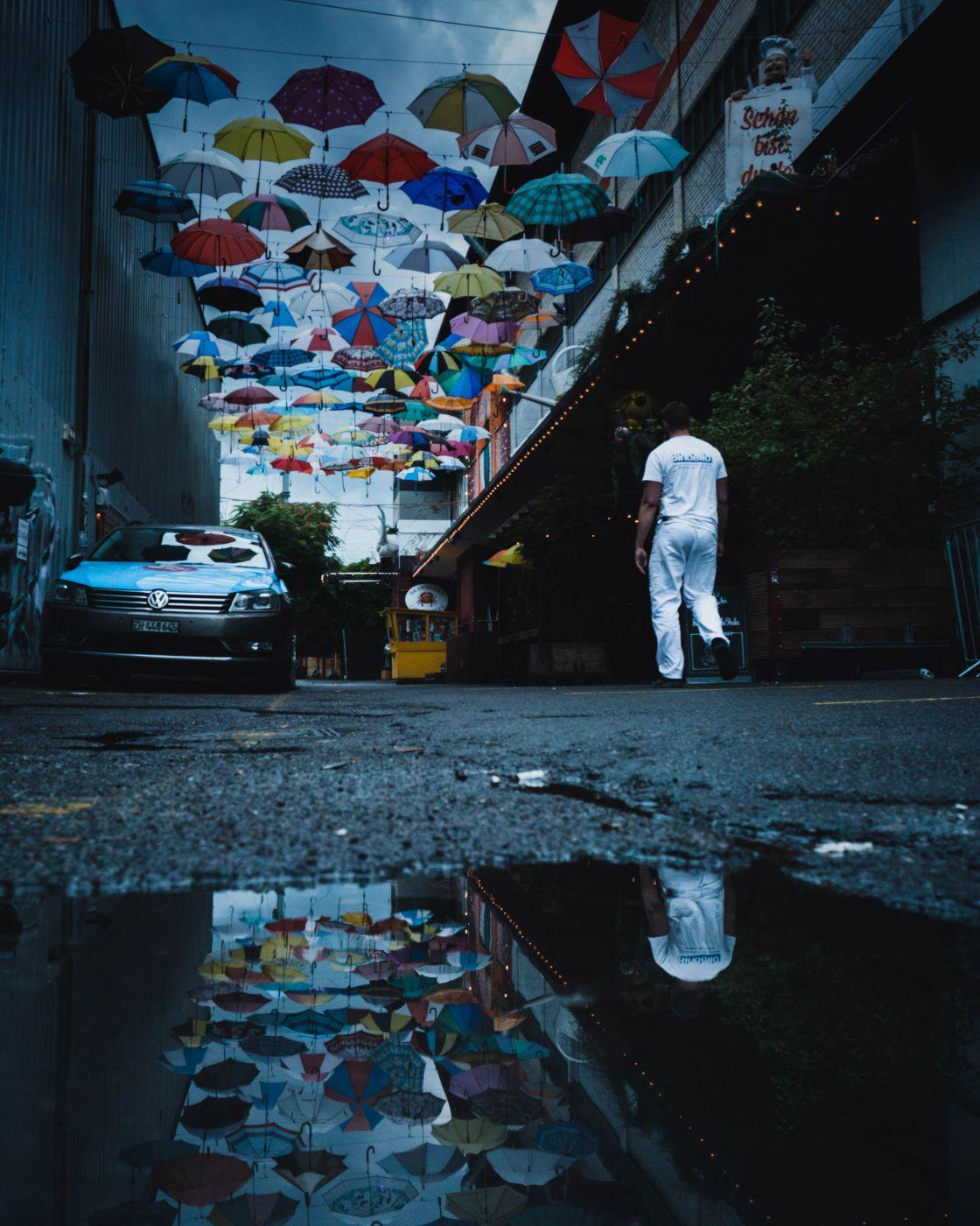 Umbrella artwork in urban part of Zurich., Switzerland
