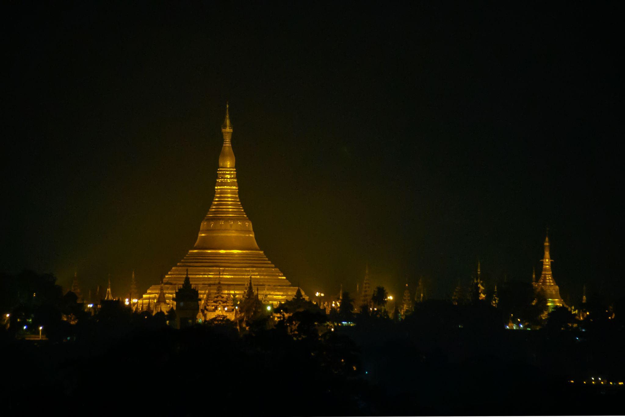Unique view of Shwedagon Pagoda, Myanmar