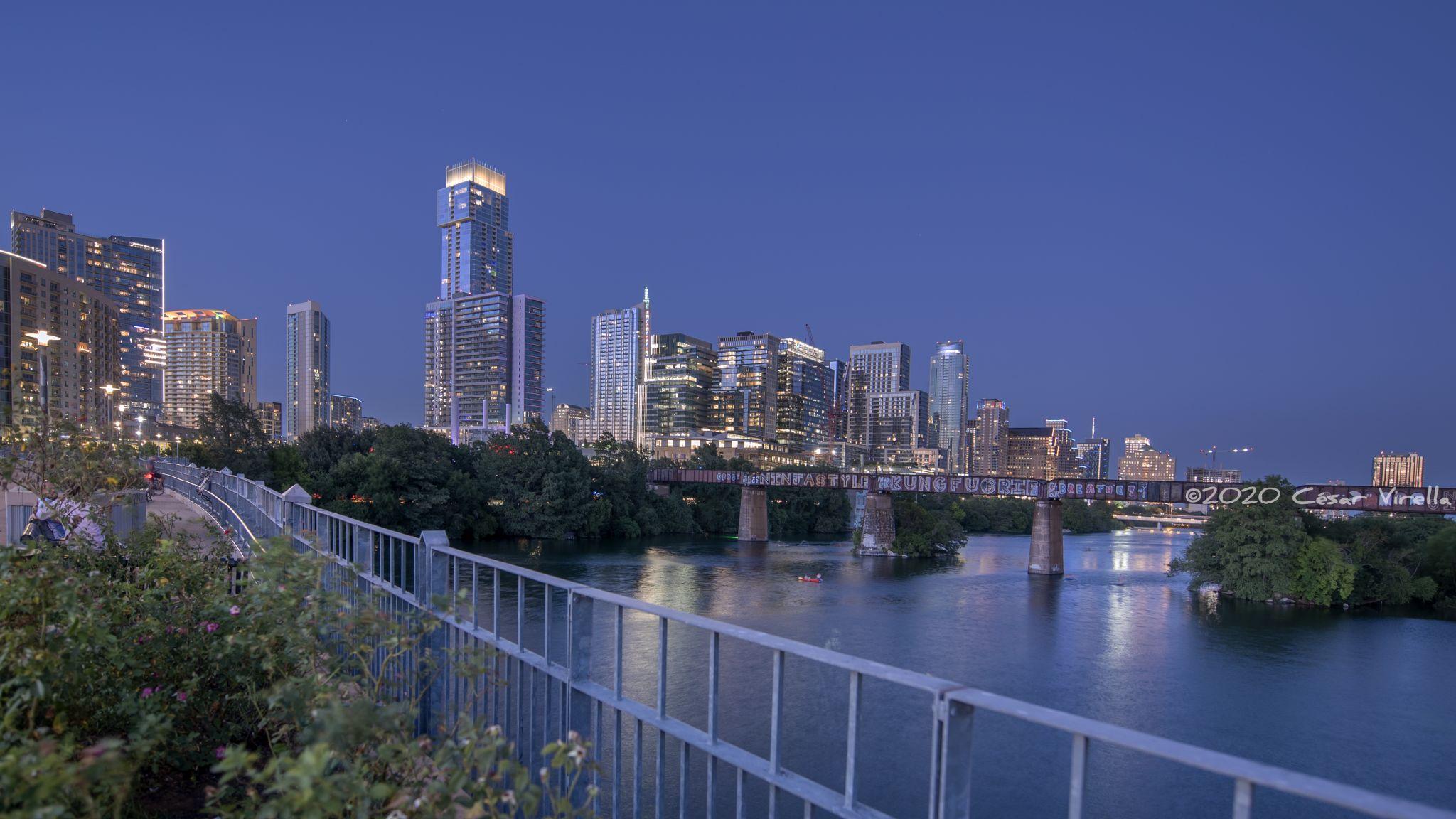 Austin Skyline from Pfluger Pedestrian Bridge, USA