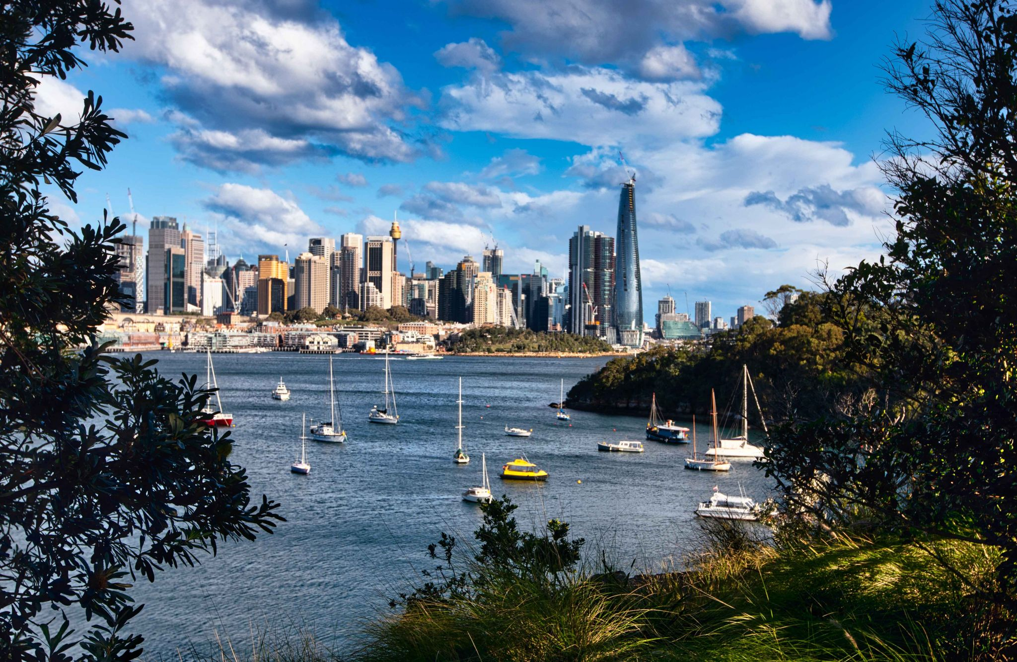 Berry Bay Lookout over Sydney Skyline NSW, Australia