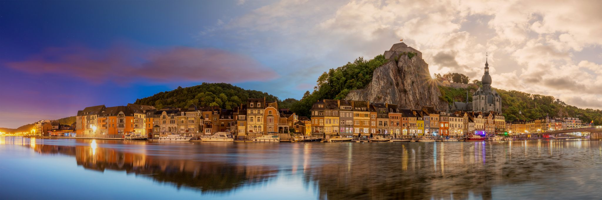 Dinant cathedral time blending panorama, Belgium