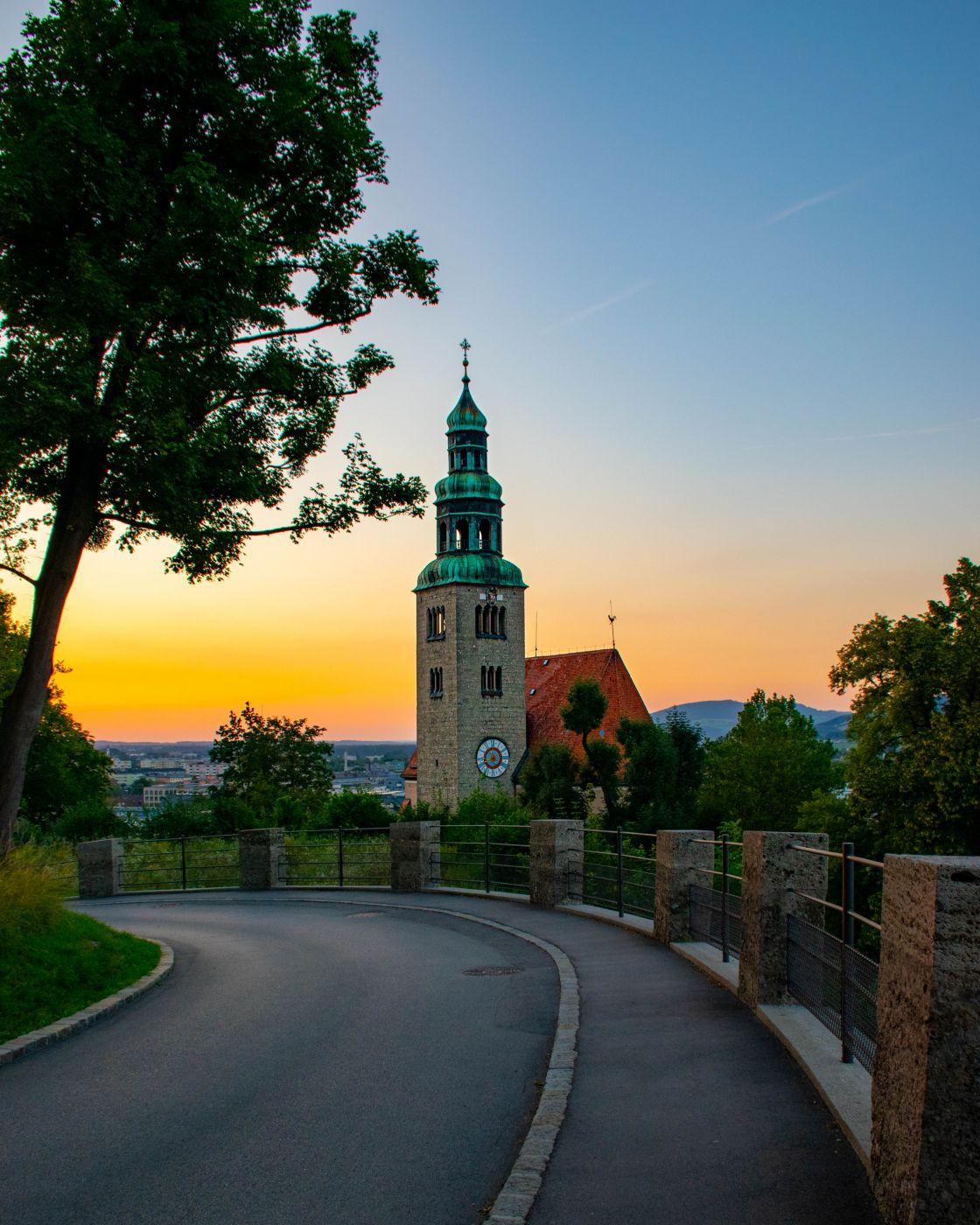 Sunset church, Salzburg (Pfarre Mülln), Austria