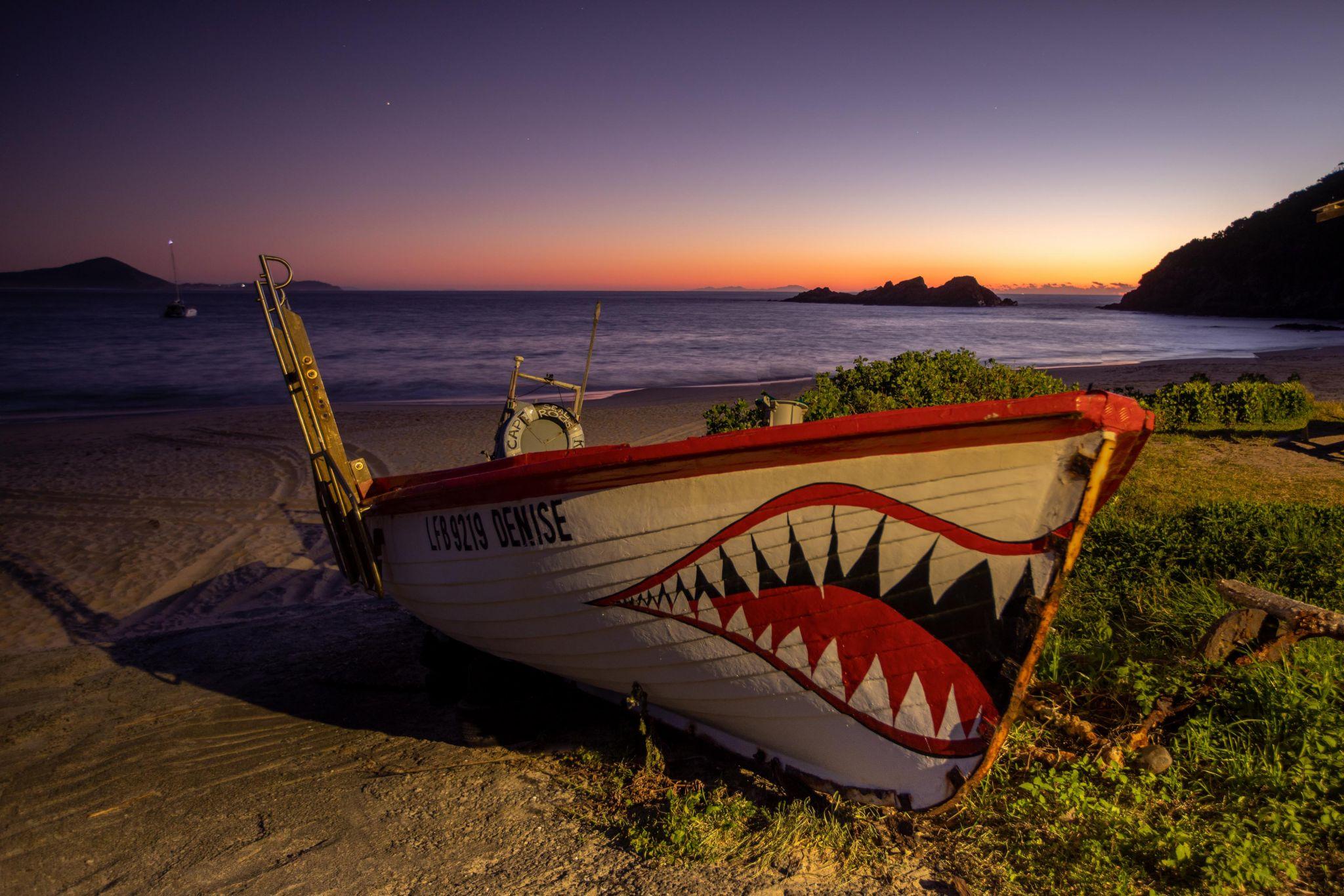 Fishing Boat Sugar Loaf Bay, Seal Rocks sunrise, Australia