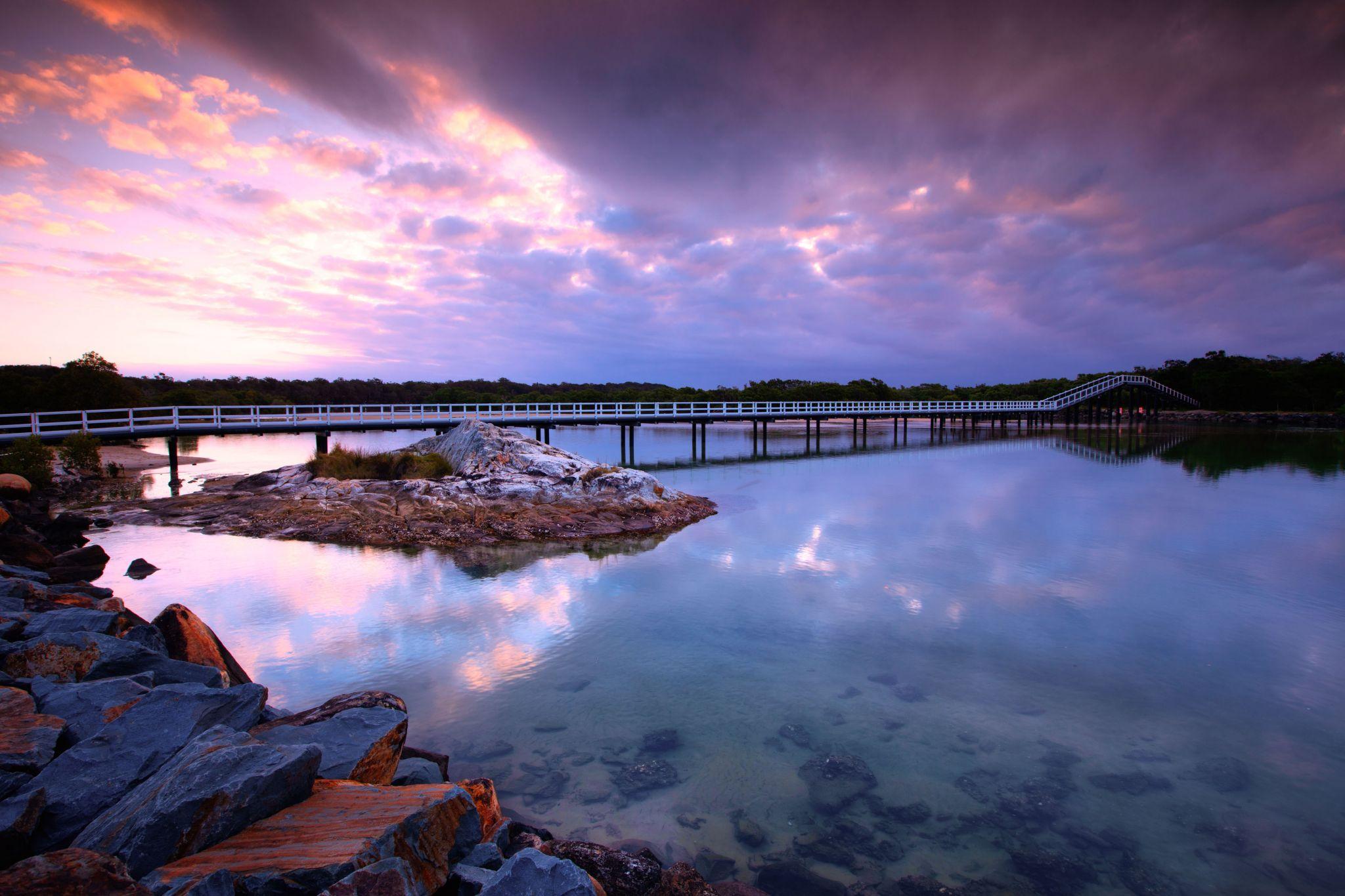 Foot bridge sunset South West Rocks, Australia