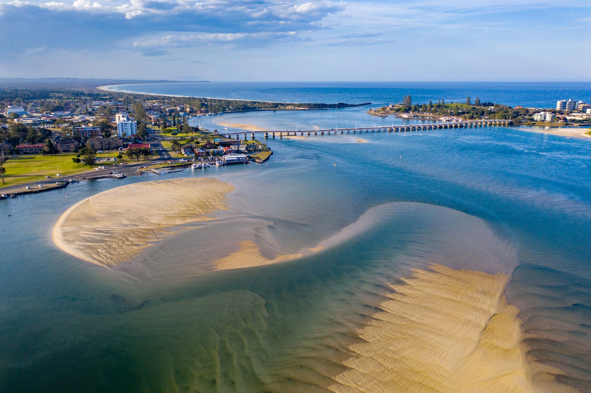 Forster Tuncurry Bridge and sand bar. New South Wales, Australia