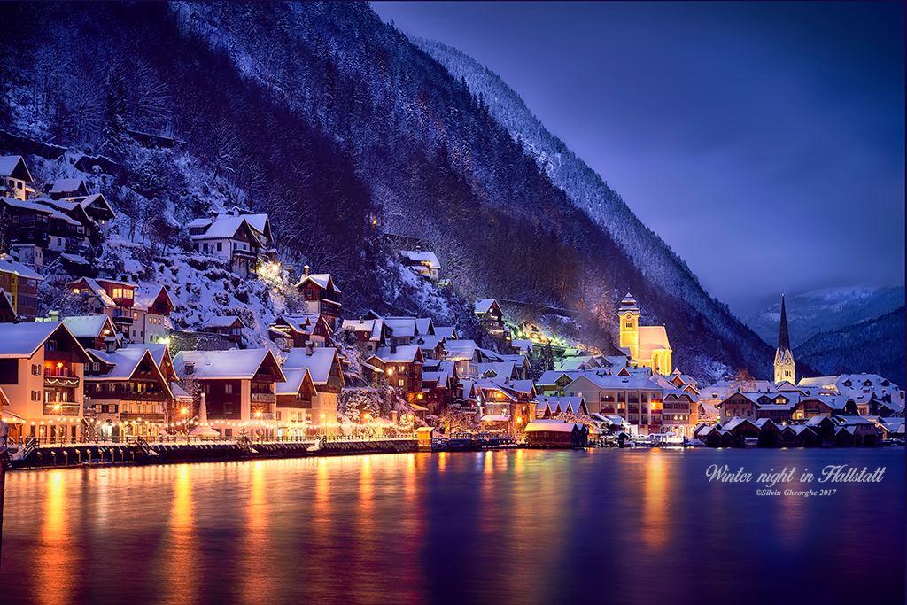 Hallstatt by night in winter, Austria