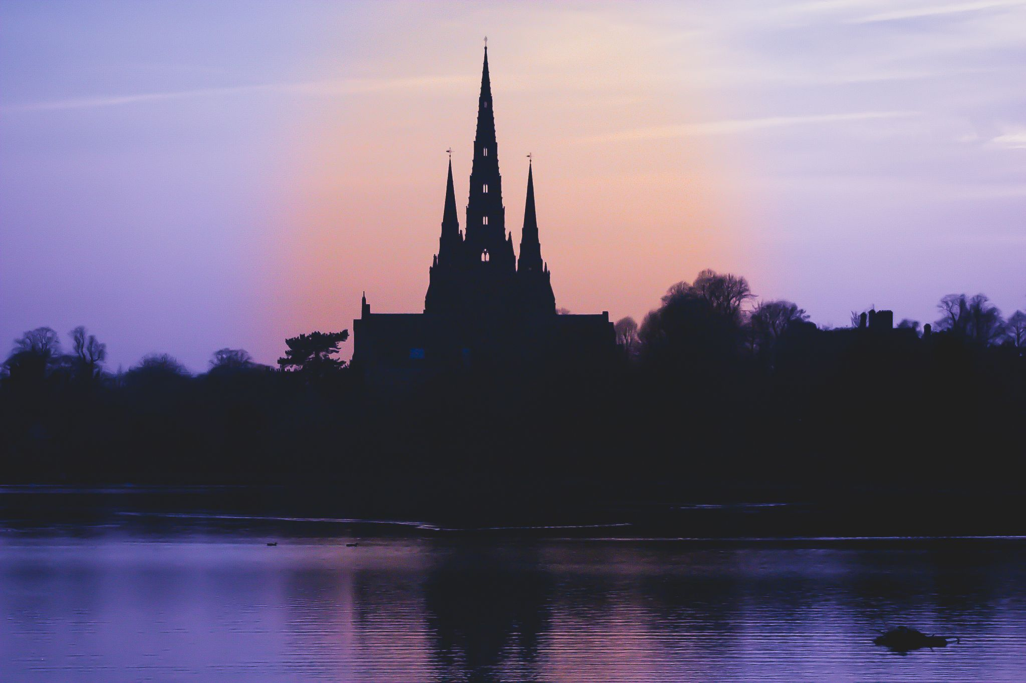 Lichfield cathedral from Stowe Pool, United Kingdom