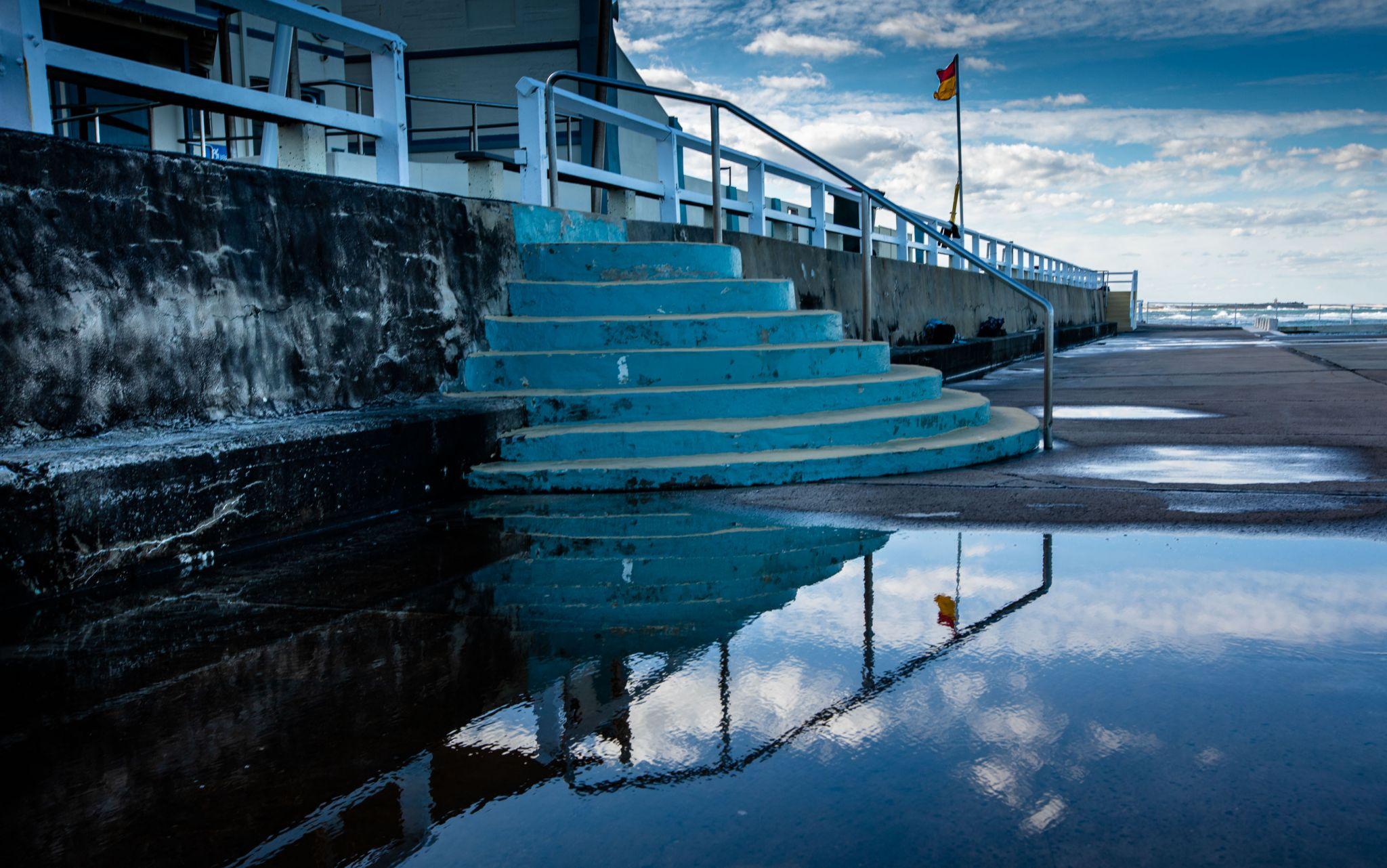 Newcastle Pool steps reflection Newcastle New South Wales, Australia