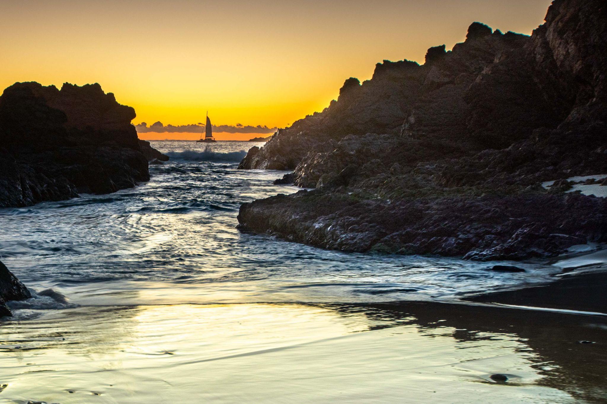 Sailing Boat sunrise Seal Rocks New South Wales, Australia