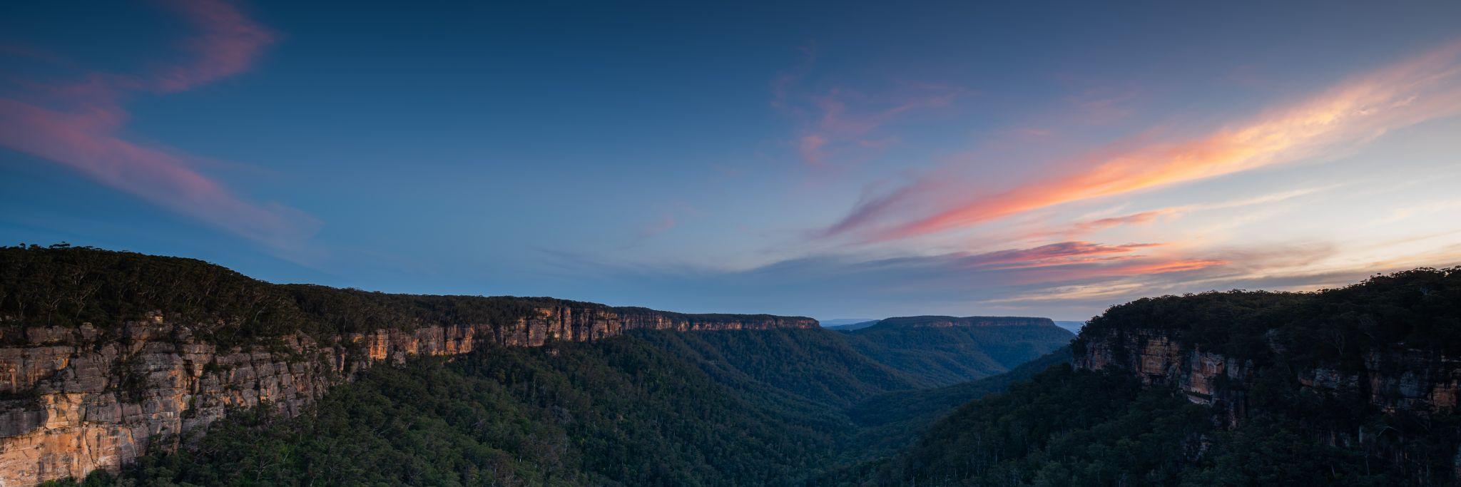 Sunset over the Morton National Park, Australia