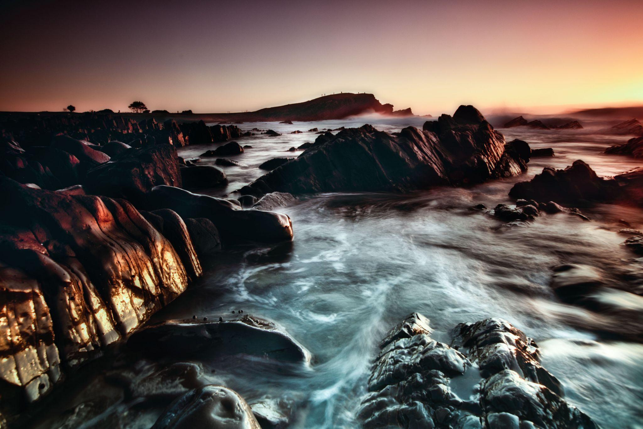 Tide receding Little Nobby Crescent Head NSW, Australia
