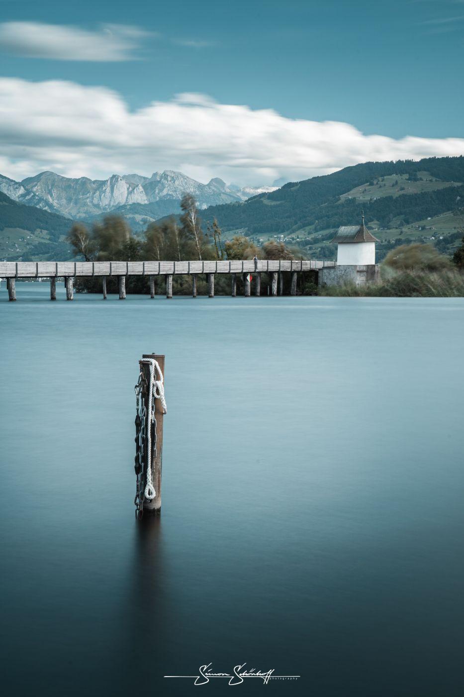 View of the woden bridge, Switzerland
