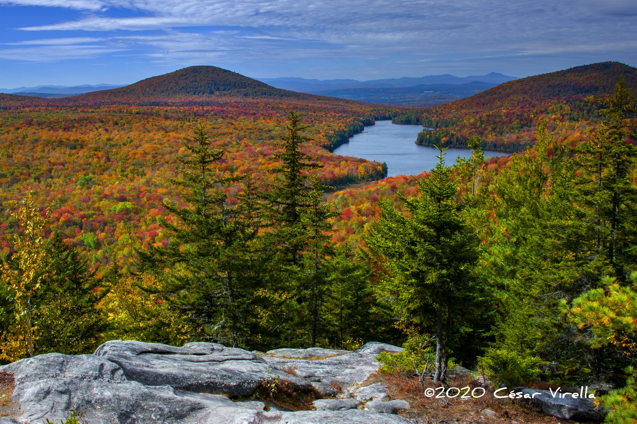 Kettle Pond from Owl's Head Mountain in Vermont, USA
